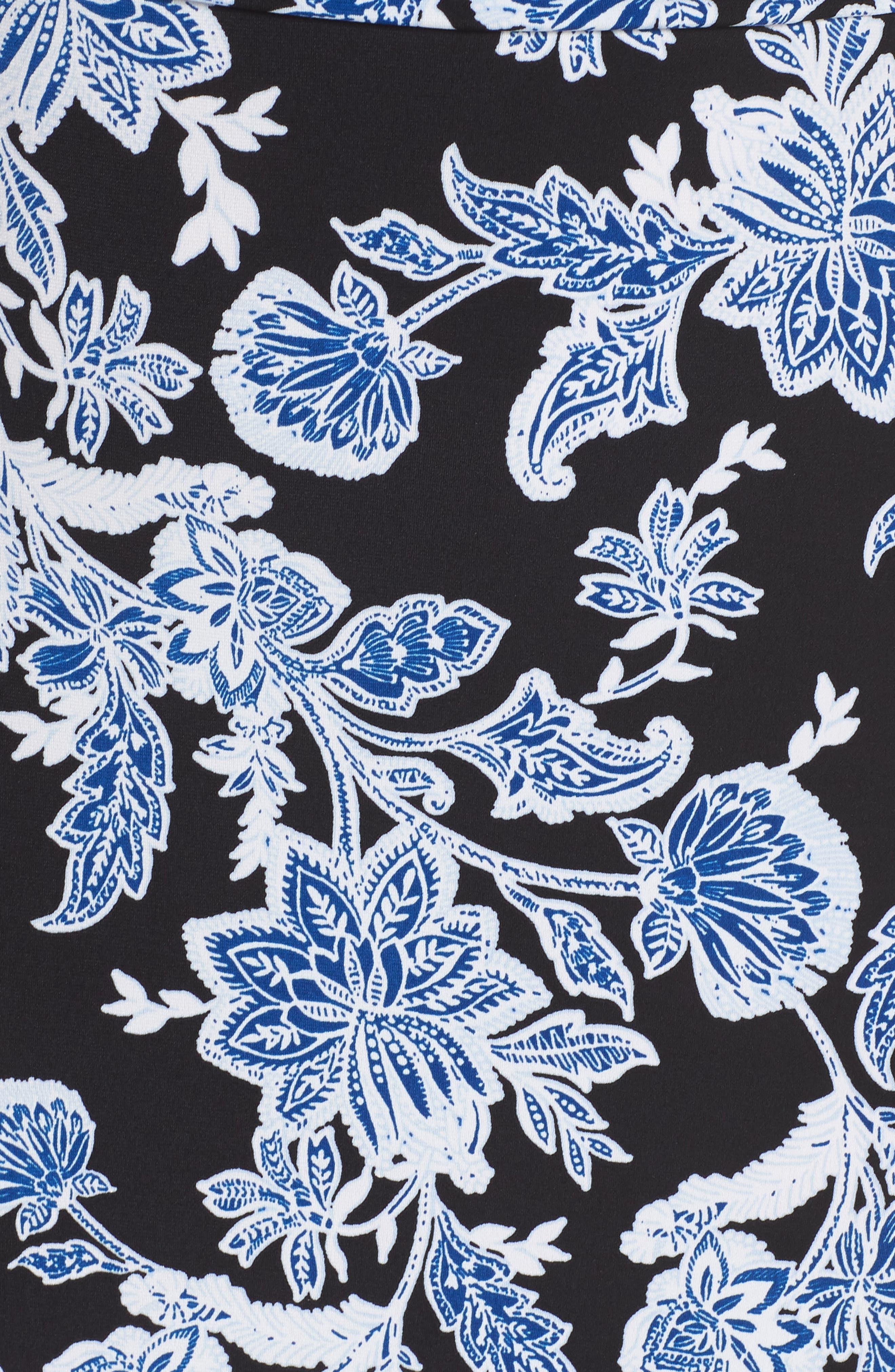 Woodblock Floral Maxi Dress,                             Alternate thumbnail 6, color,                             Rich Black