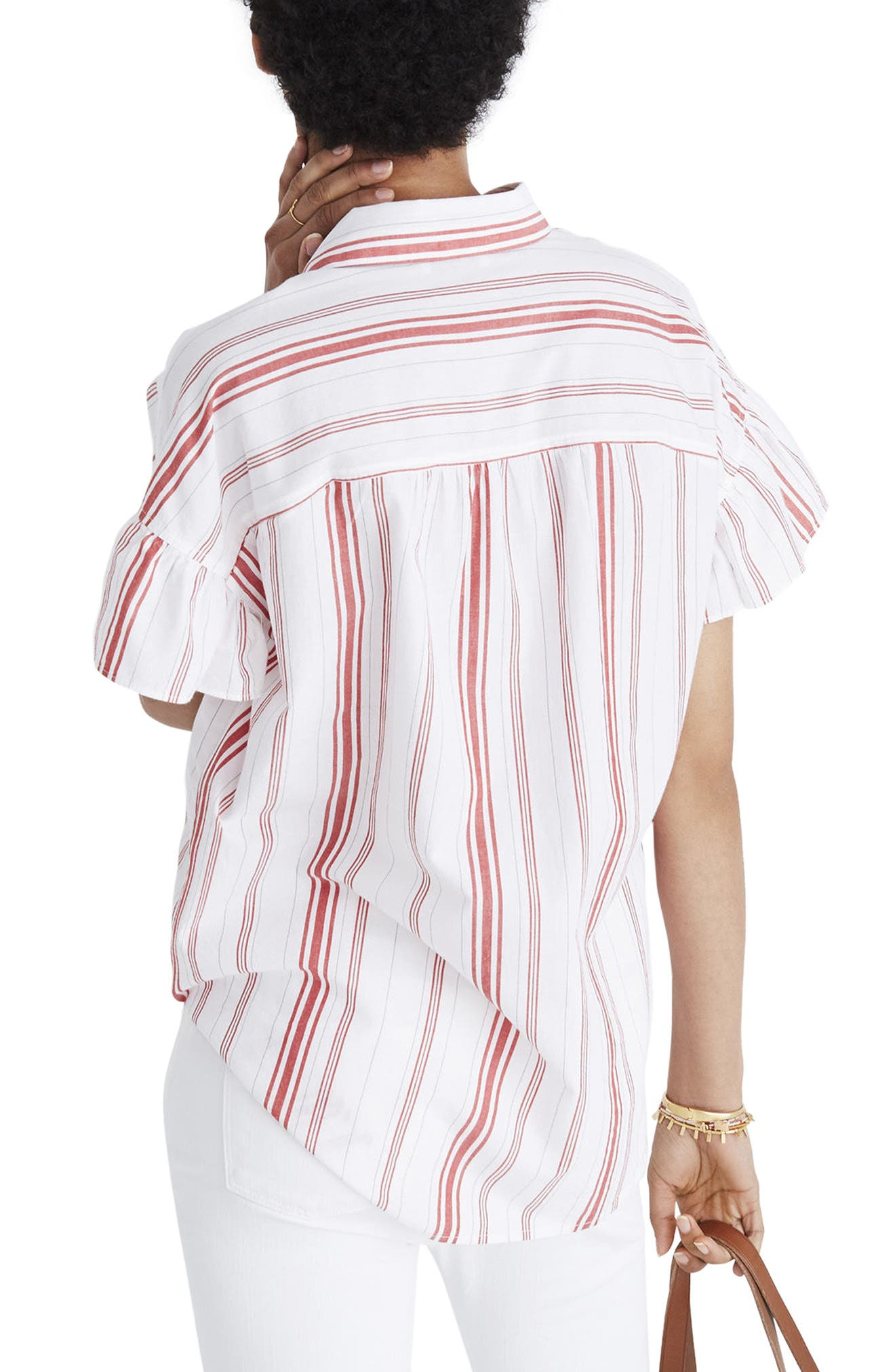 Central Stripe Ruffle Sleeve Shirt,                             Alternate thumbnail 3, color,                             Red Stripe