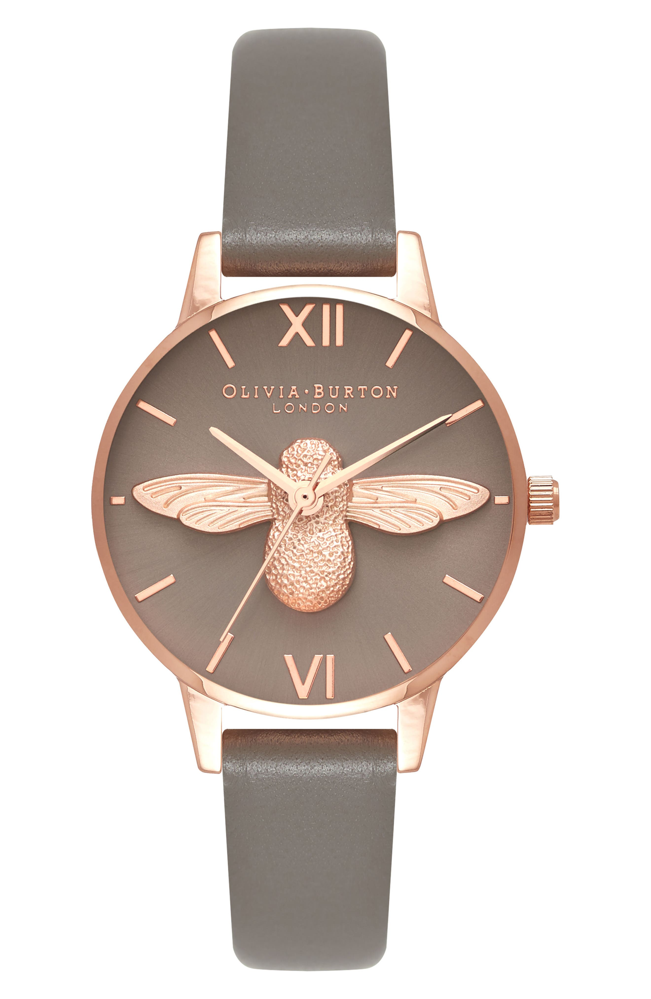 3D Bee Leather Strap Watch, 30mm,                         Main,                         color, London Grey/ Bee/ Rose Gold