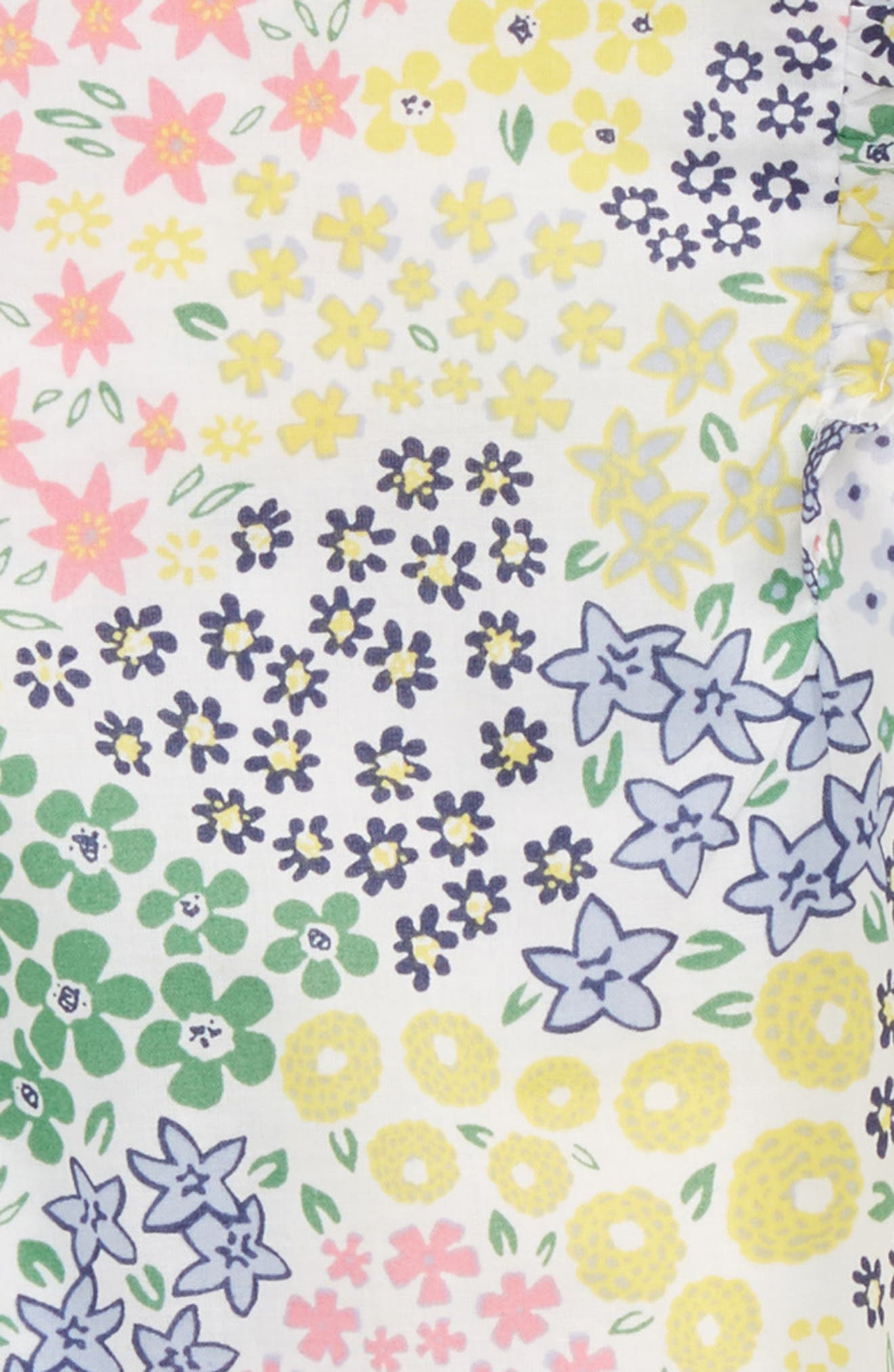 Ruffle Floral Dress,                             Alternate thumbnail 2, color,                             White Multi Meadow
