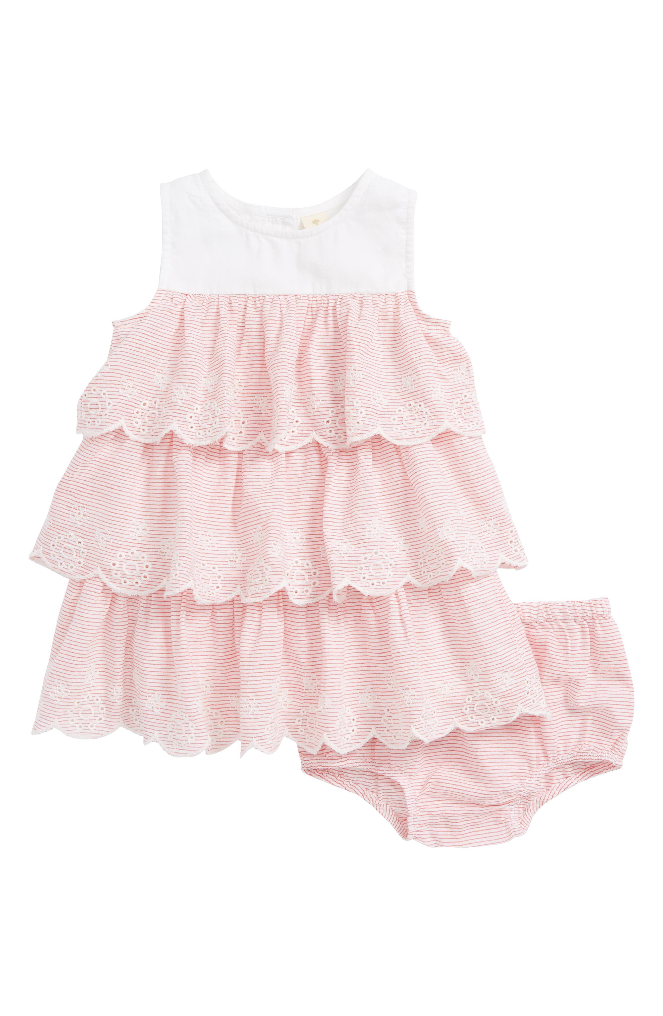 Tiered Woven Dress,                             Main thumbnail 1, color,                             White- Red Stripe