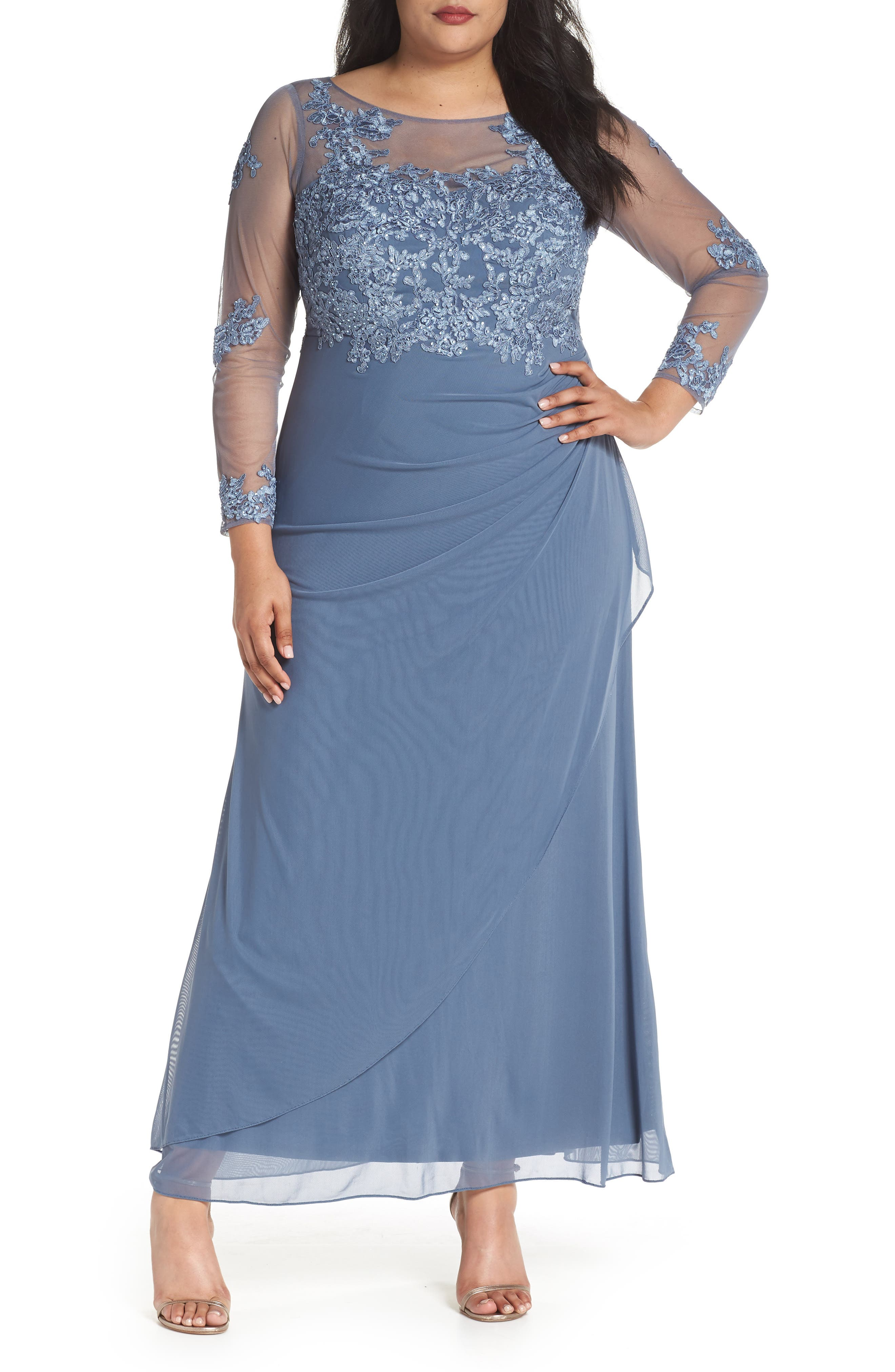 Embroidered Illusion Lace Gown,                             Main thumbnail 1, color,                             Peri
