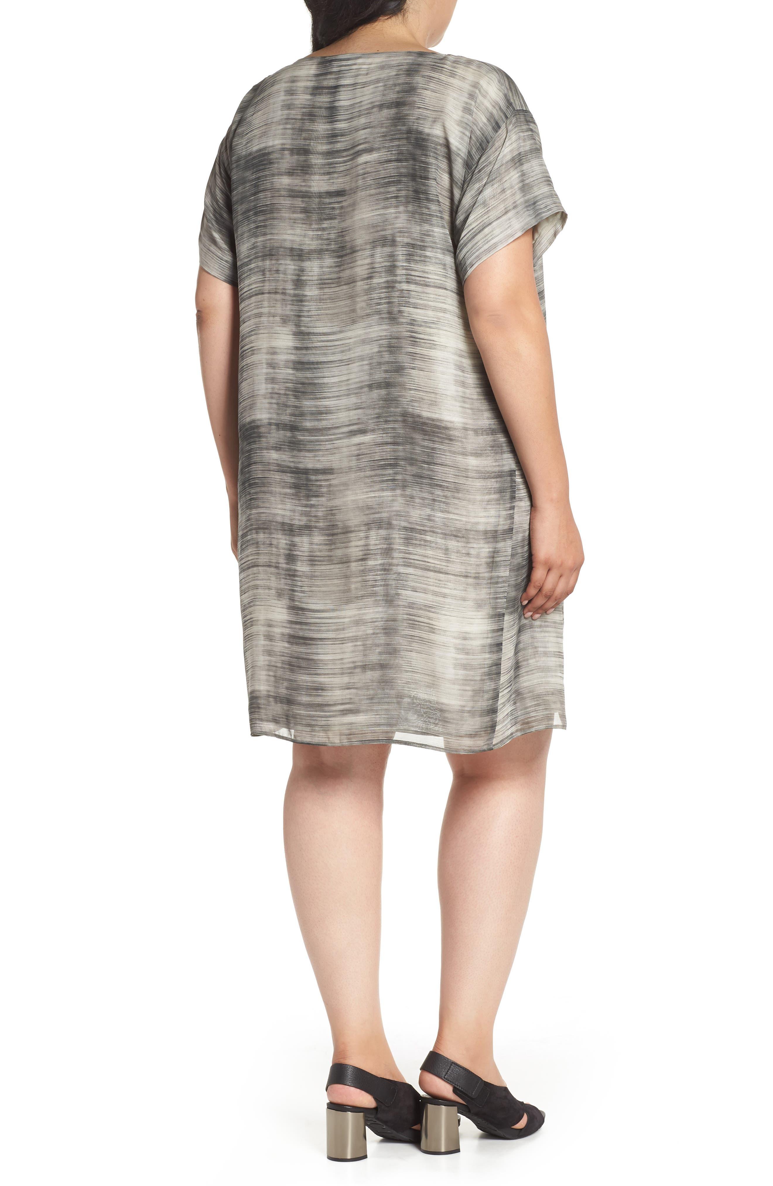 Bateau Neck Silk Shift Dress,                             Alternate thumbnail 2, color,                             Limestone