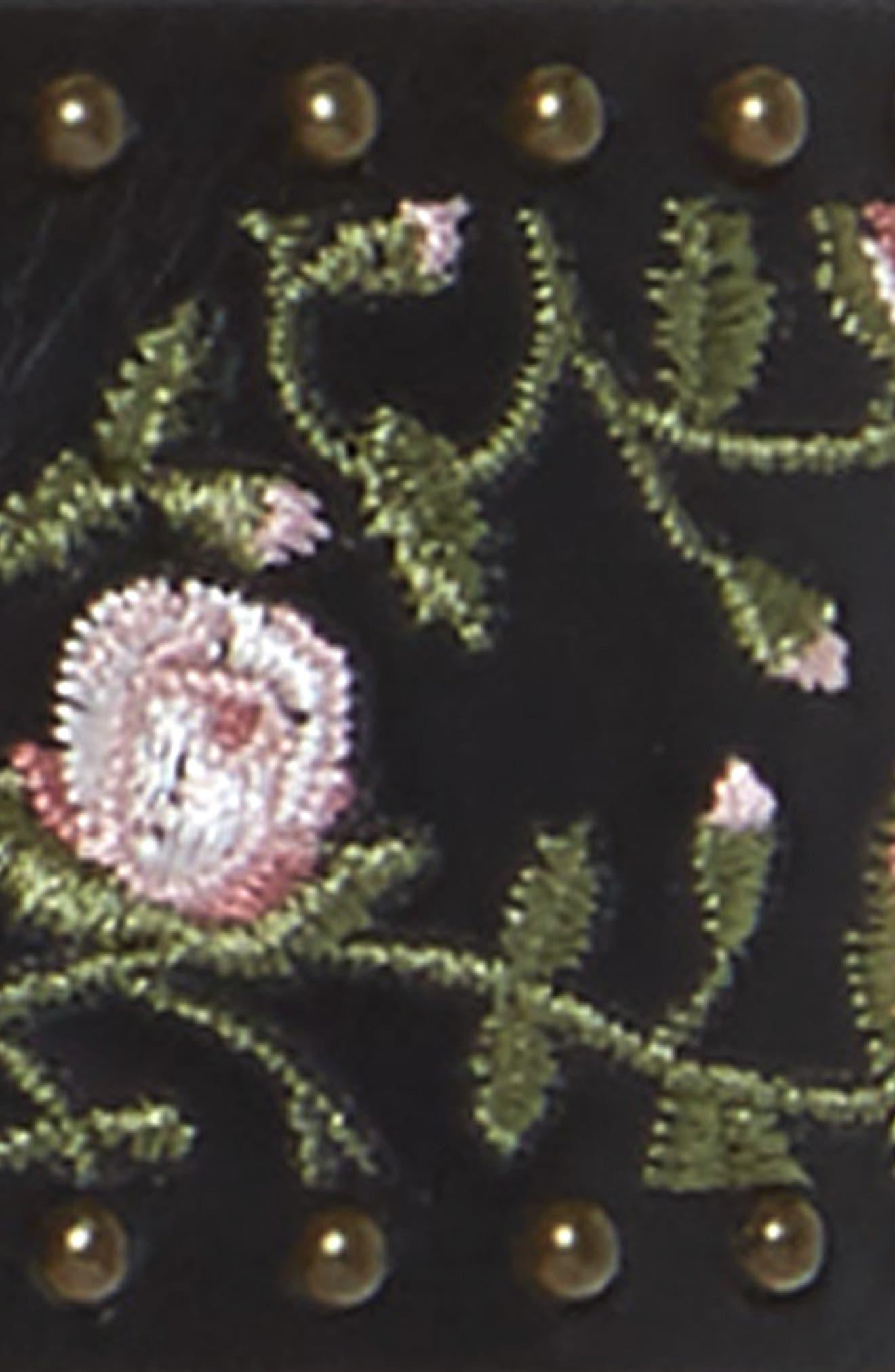 Rose Embroidered Studded Faux Leather Belt,                             Alternate thumbnail 3, color,                             Black
