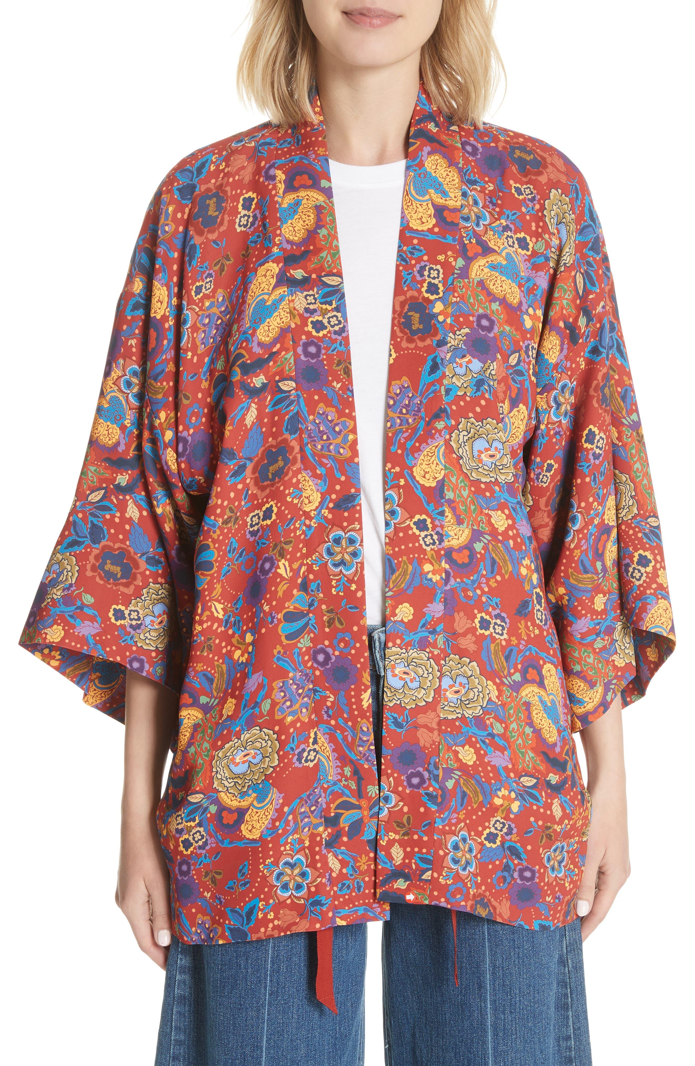 Drew Crop Sleeve Kimono,                             Main thumbnail 1, color,                             Tangerine
