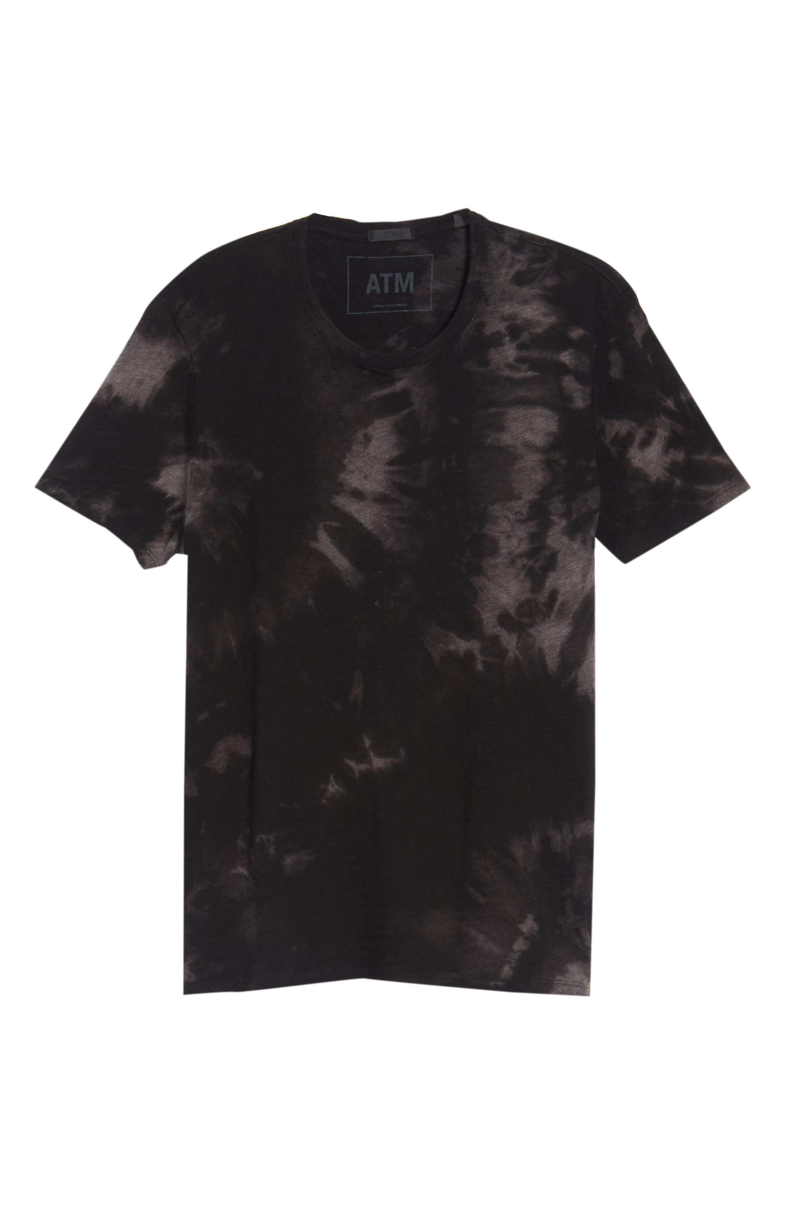 Slub Tie Dye T-Shirt,                             Alternate thumbnail 6, color,                             Black