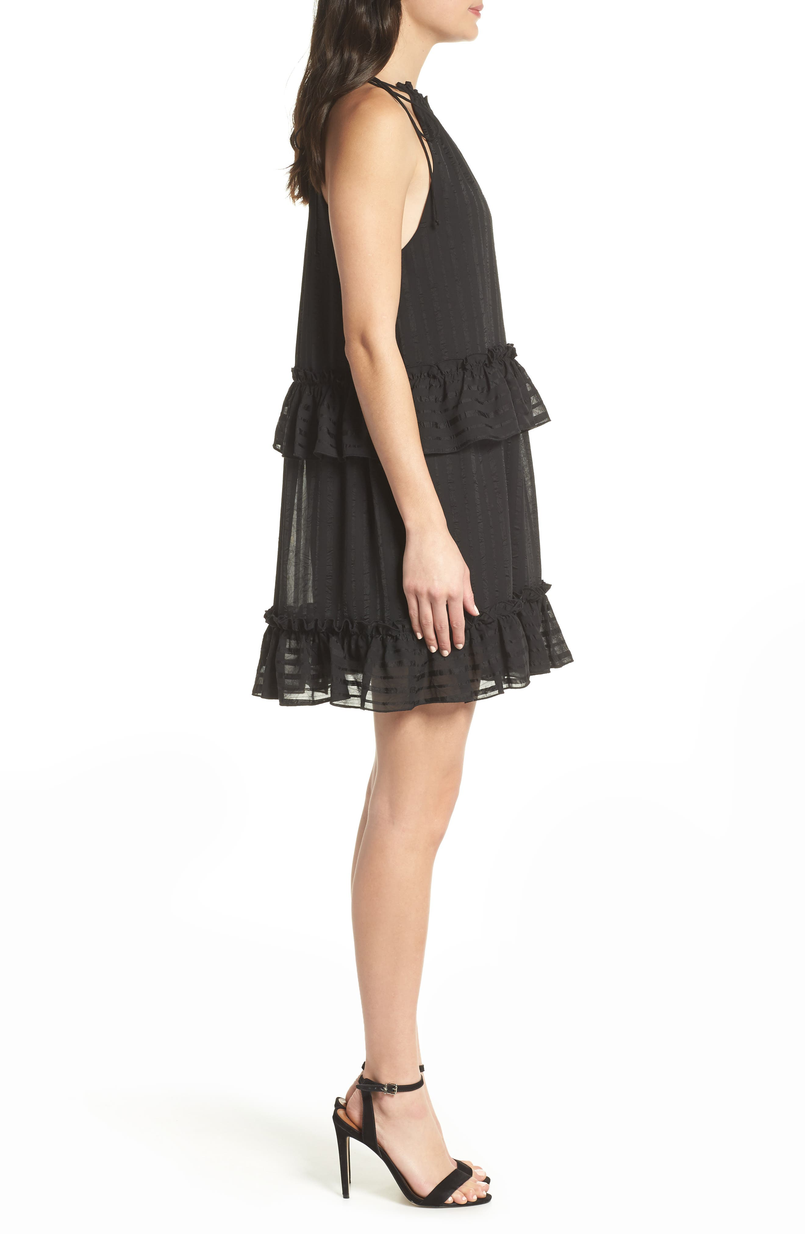 Lila Stripe Chiffon Halter Dress,                             Alternate thumbnail 3, color,                             Black