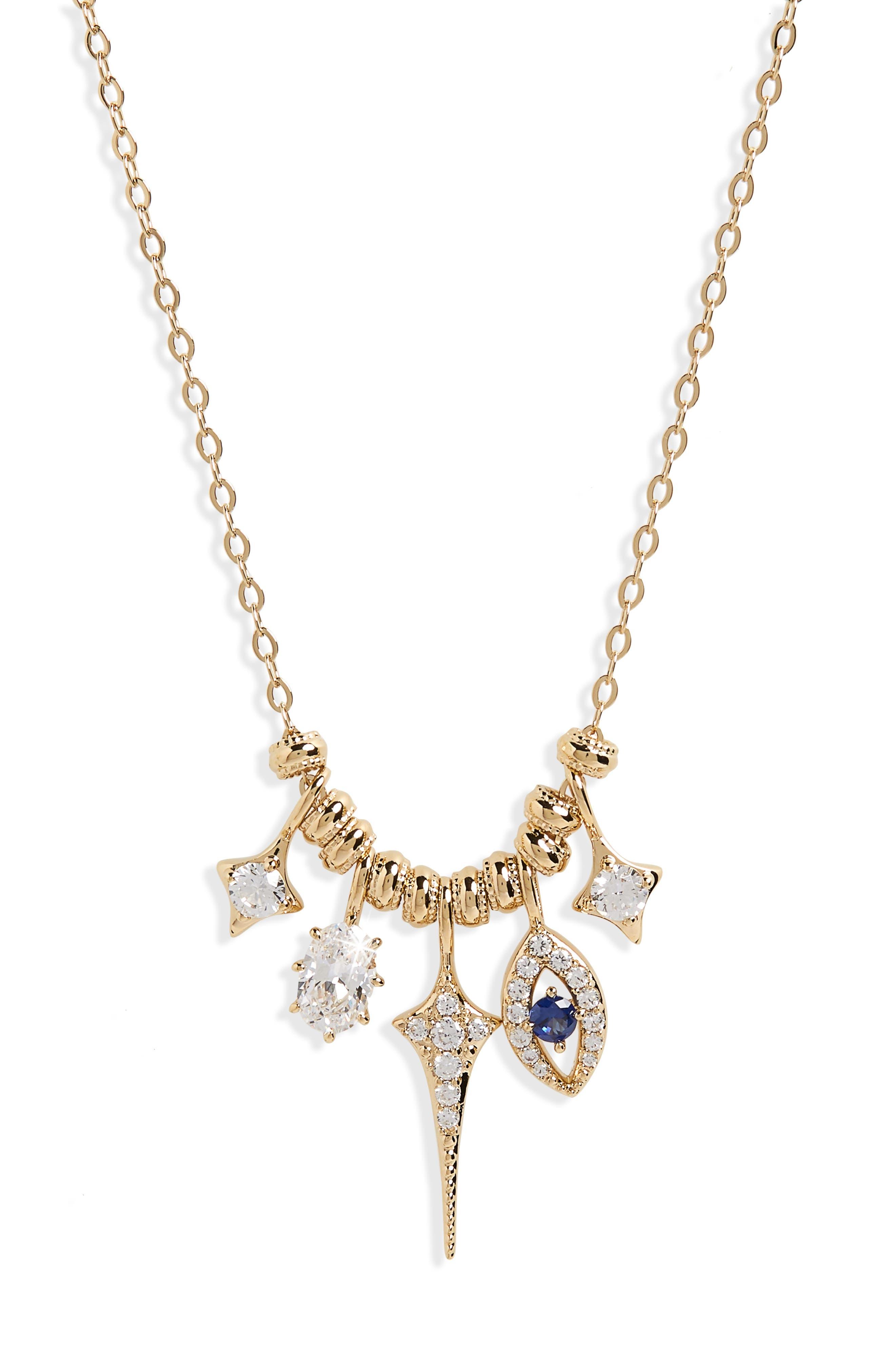 Nazar Evil Eye Charm Necklace,                             Alternate thumbnail 2, color,                             Gold