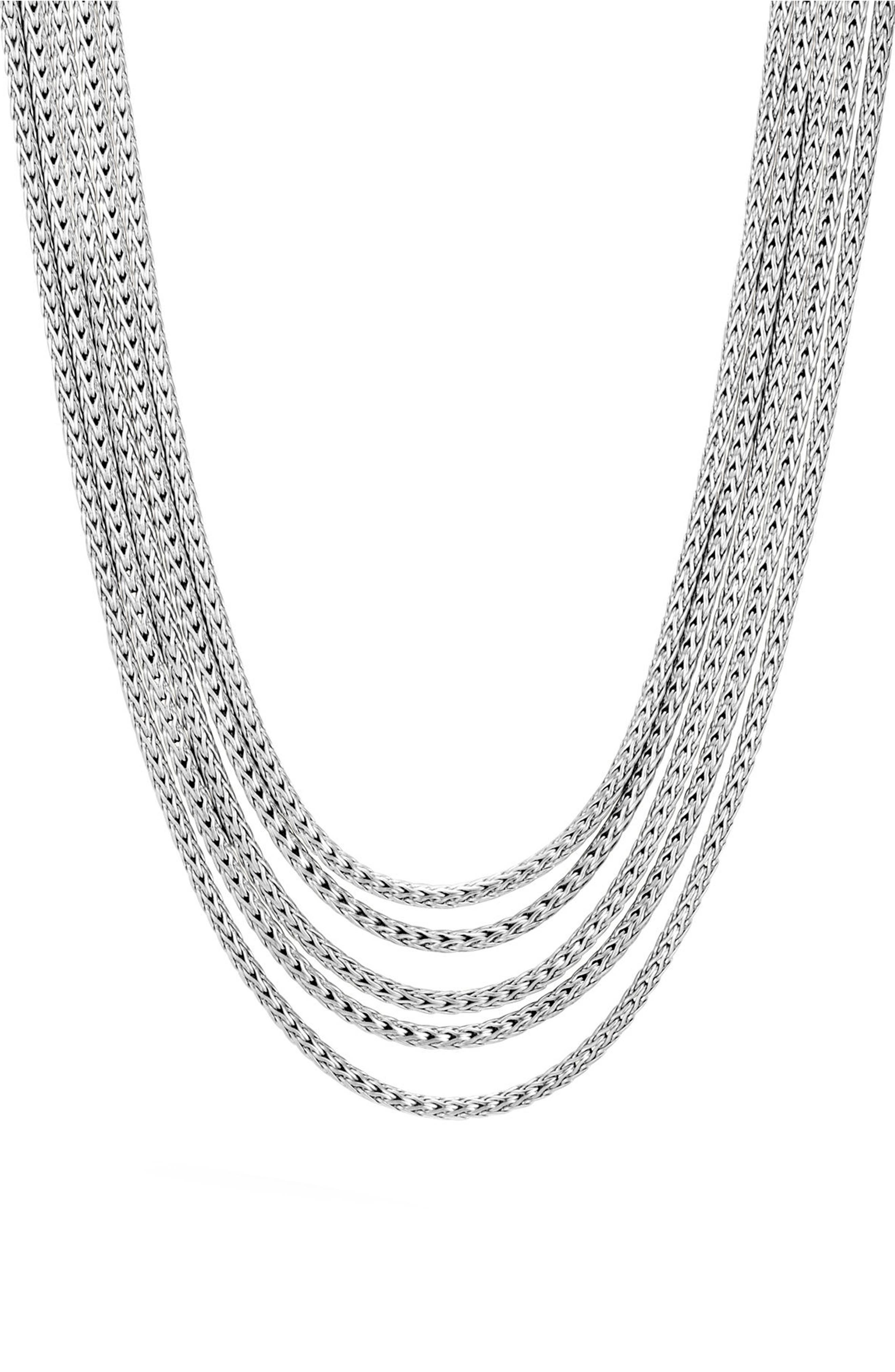 Classic Chain Five Row Sterling Silver Necklace,                             Main thumbnail 1, color,                             Silver