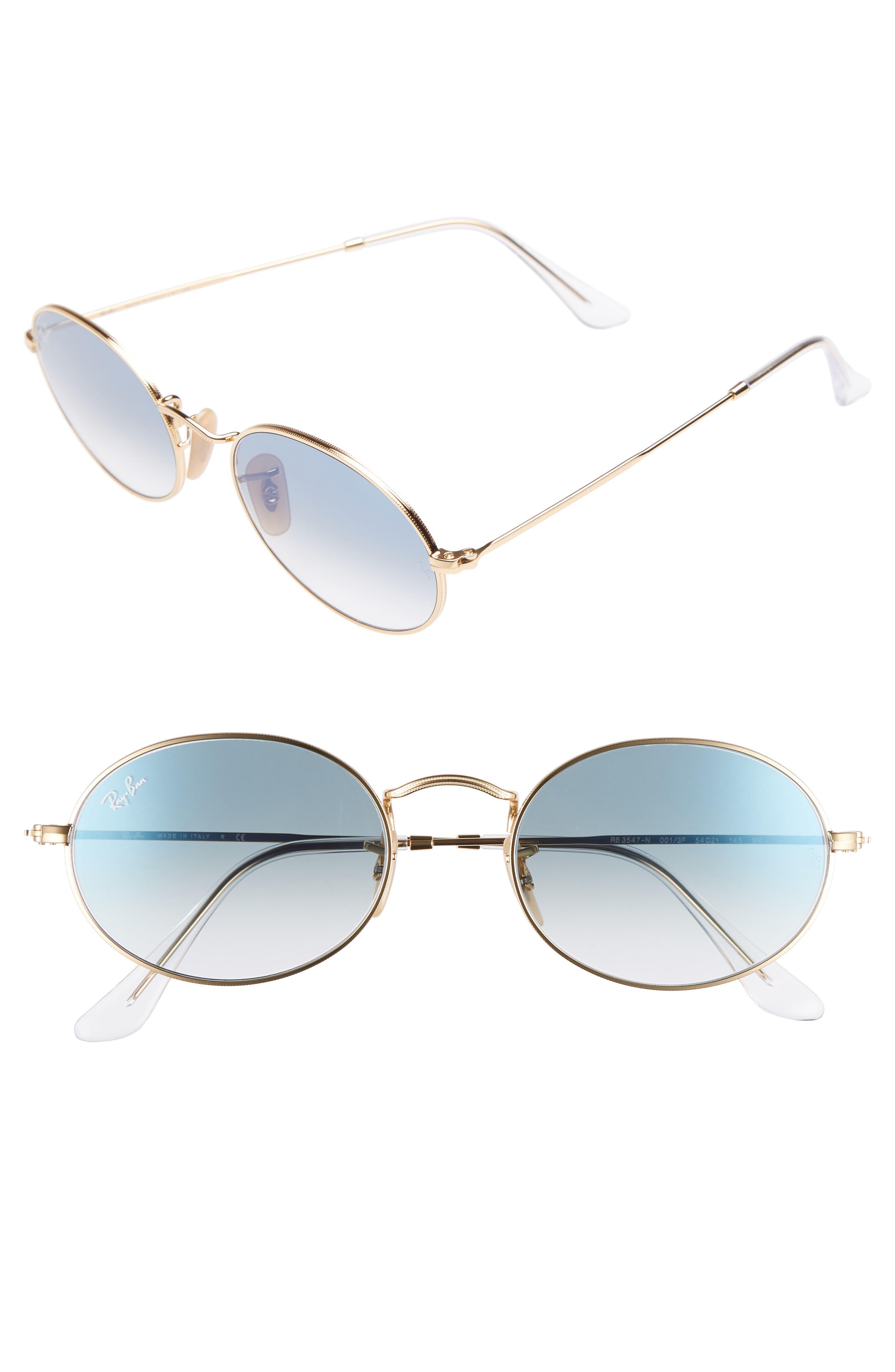 54mm Oval Sunglasses,                             Main thumbnail 1, color,                             Gold