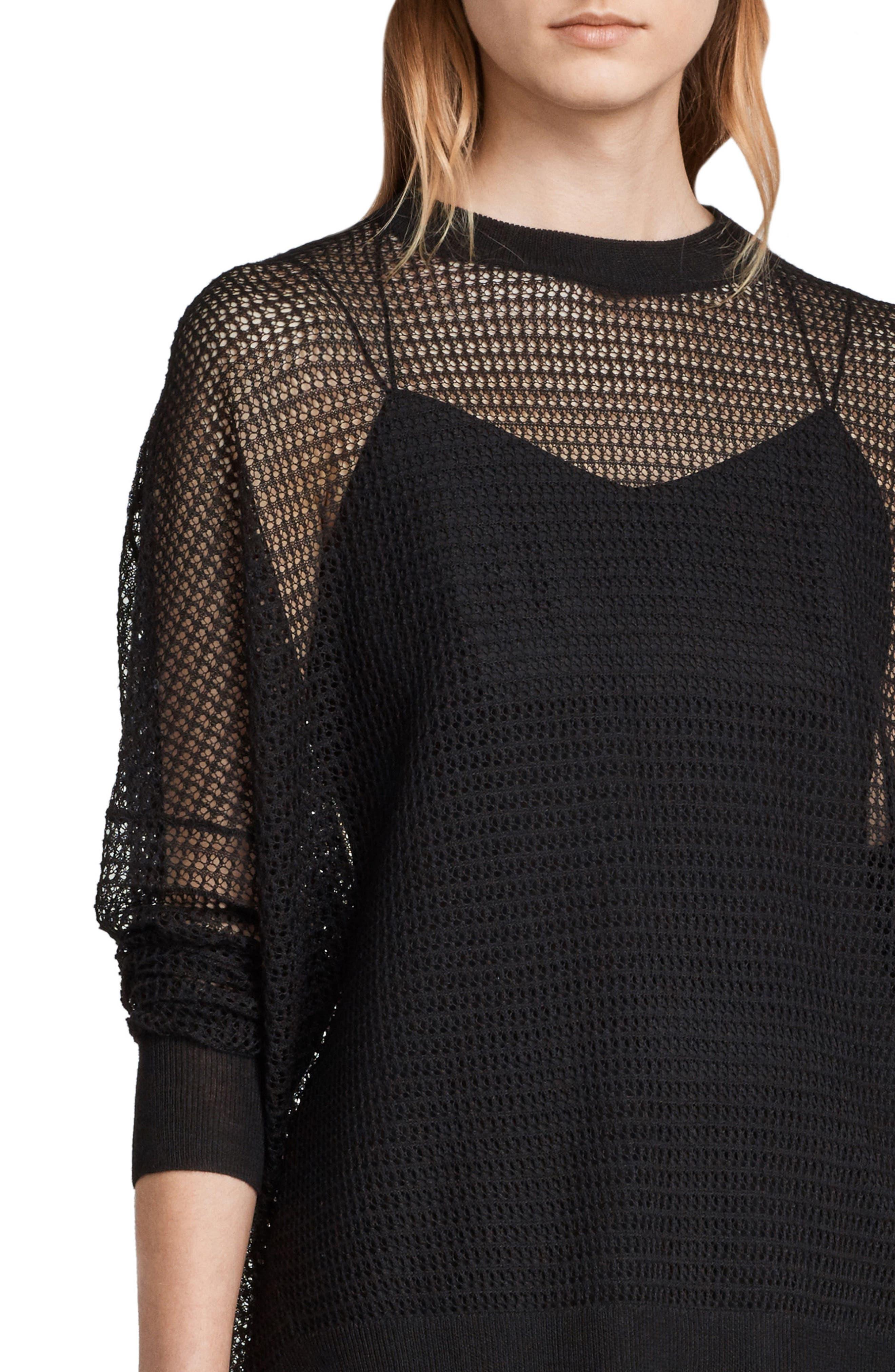 Rizo Openwork Sweater,                             Alternate thumbnail 4, color,                             Black