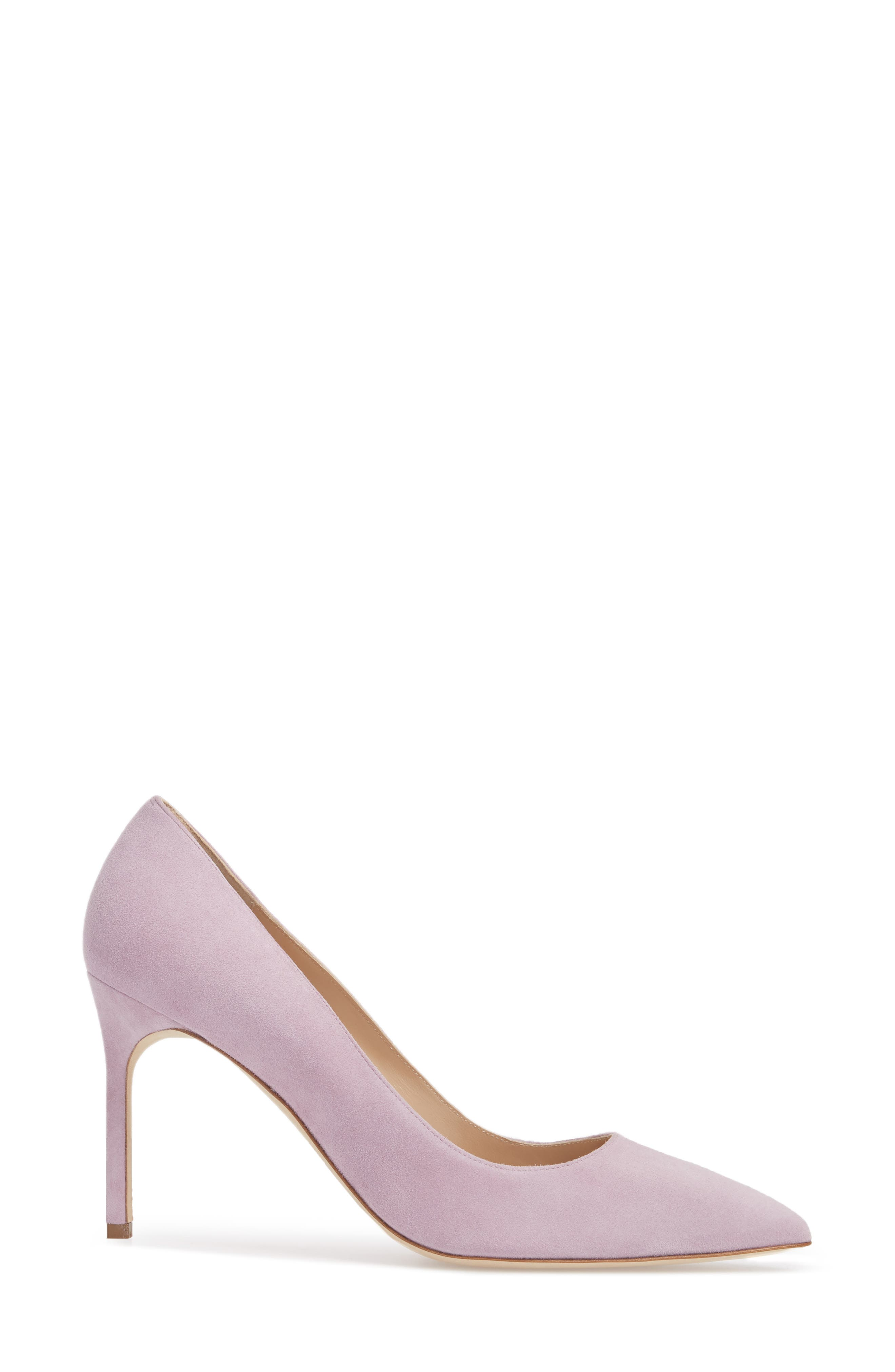 BB Pointy Toe Pump,                             Alternate thumbnail 3, color,                             Lavender Suede