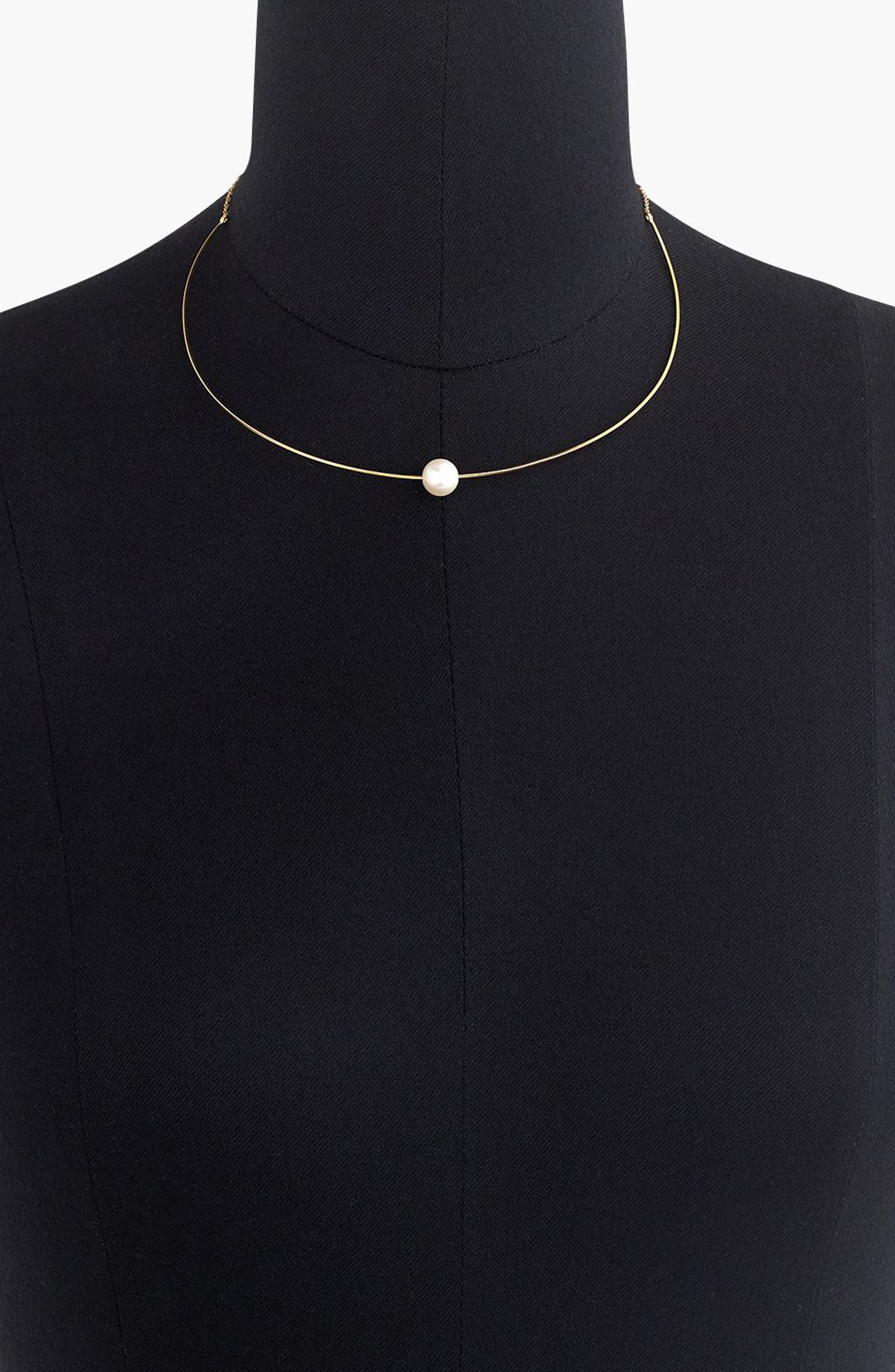 Single Imitation Pearl Collar Necklace,                             Alternate thumbnail 2, color,                             Gold