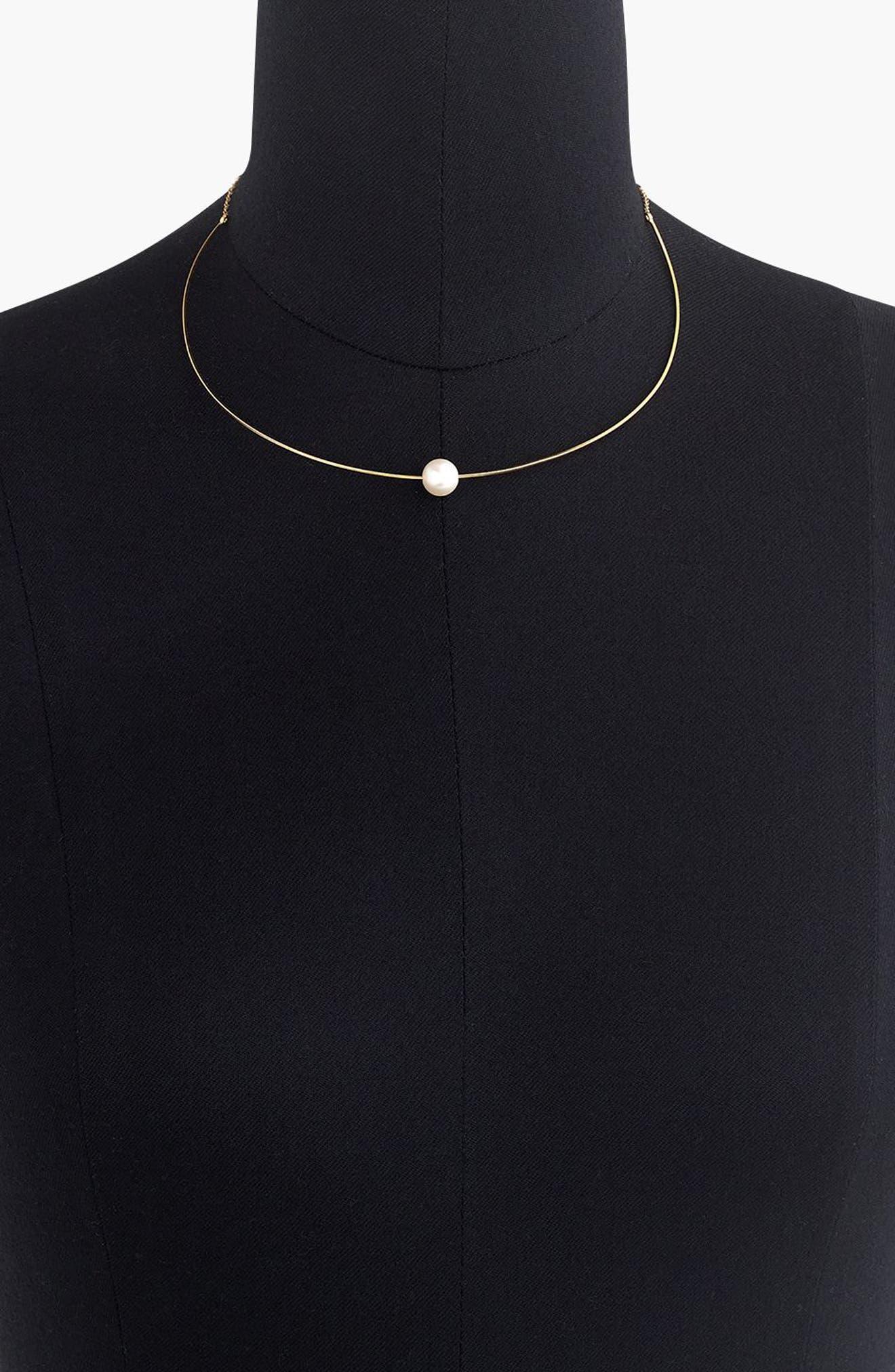 J.Crew Single Imitation Pearl Collar Necklace,                             Alternate thumbnail 2, color,                             Gold