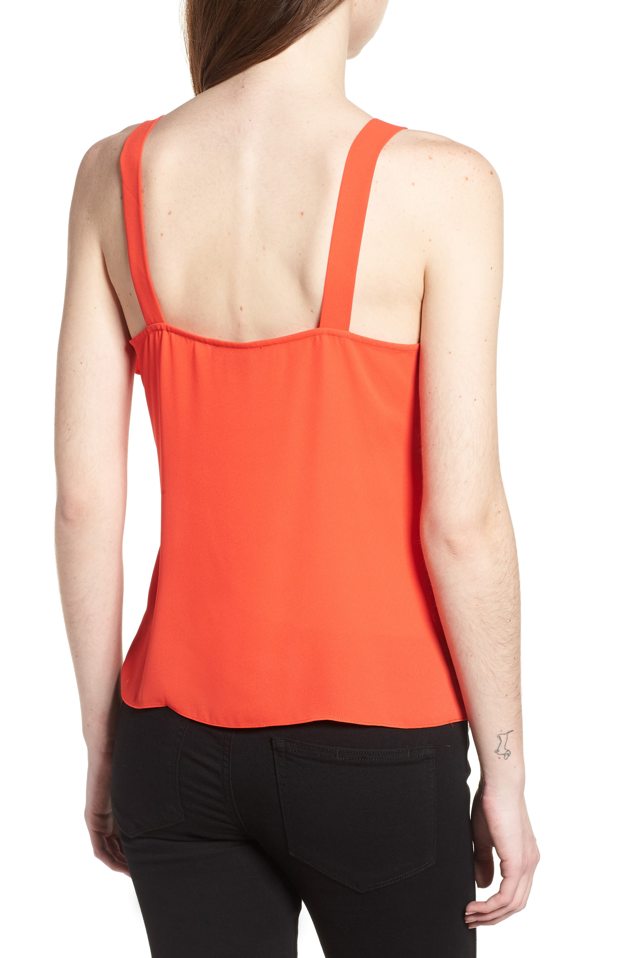 Ruffle Front Tank,                             Alternate thumbnail 2, color,                             Red Poppy