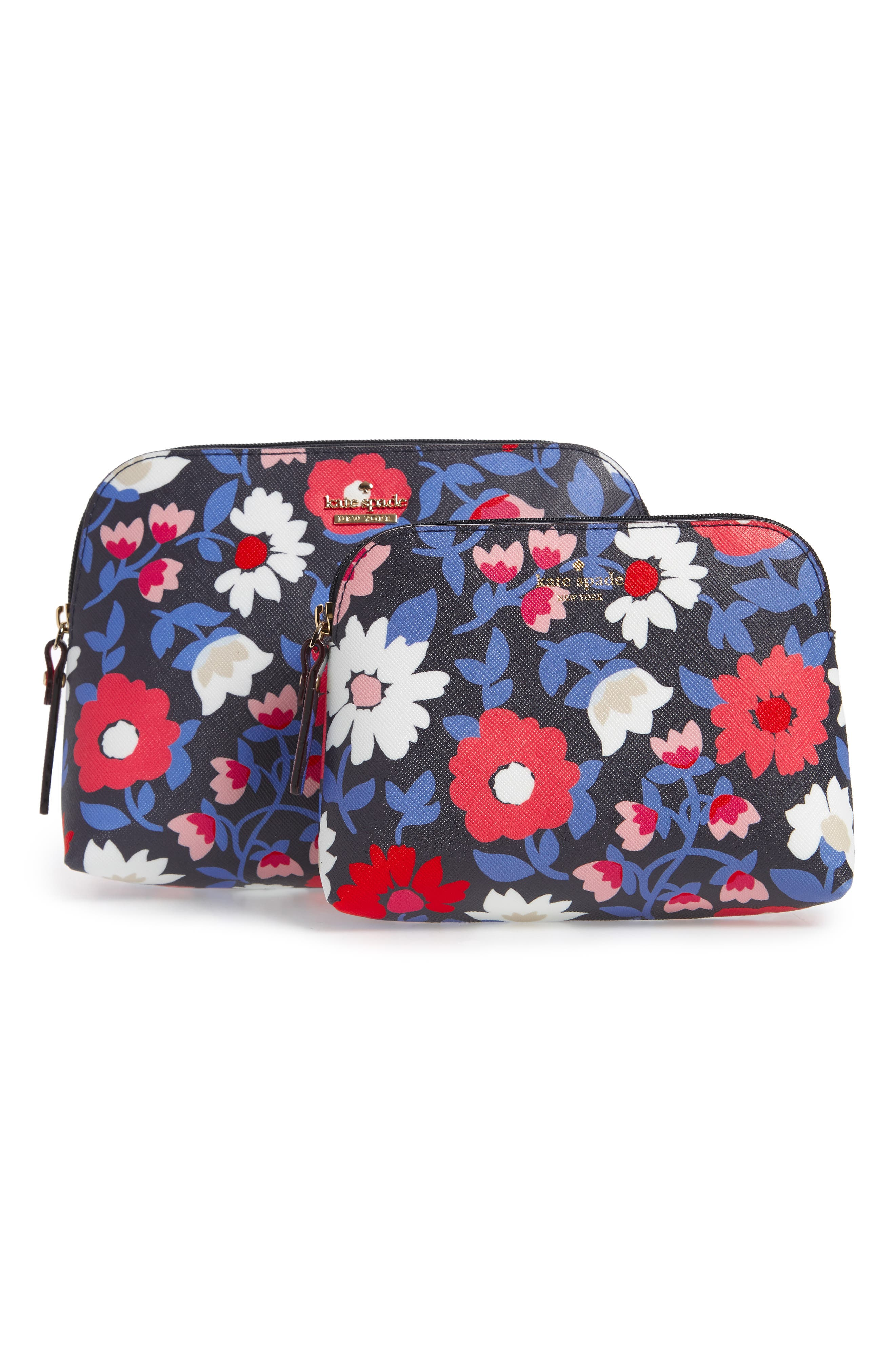 kate spade new york cameron street - daisy briley set of 2 coated canvas cosmetic cases