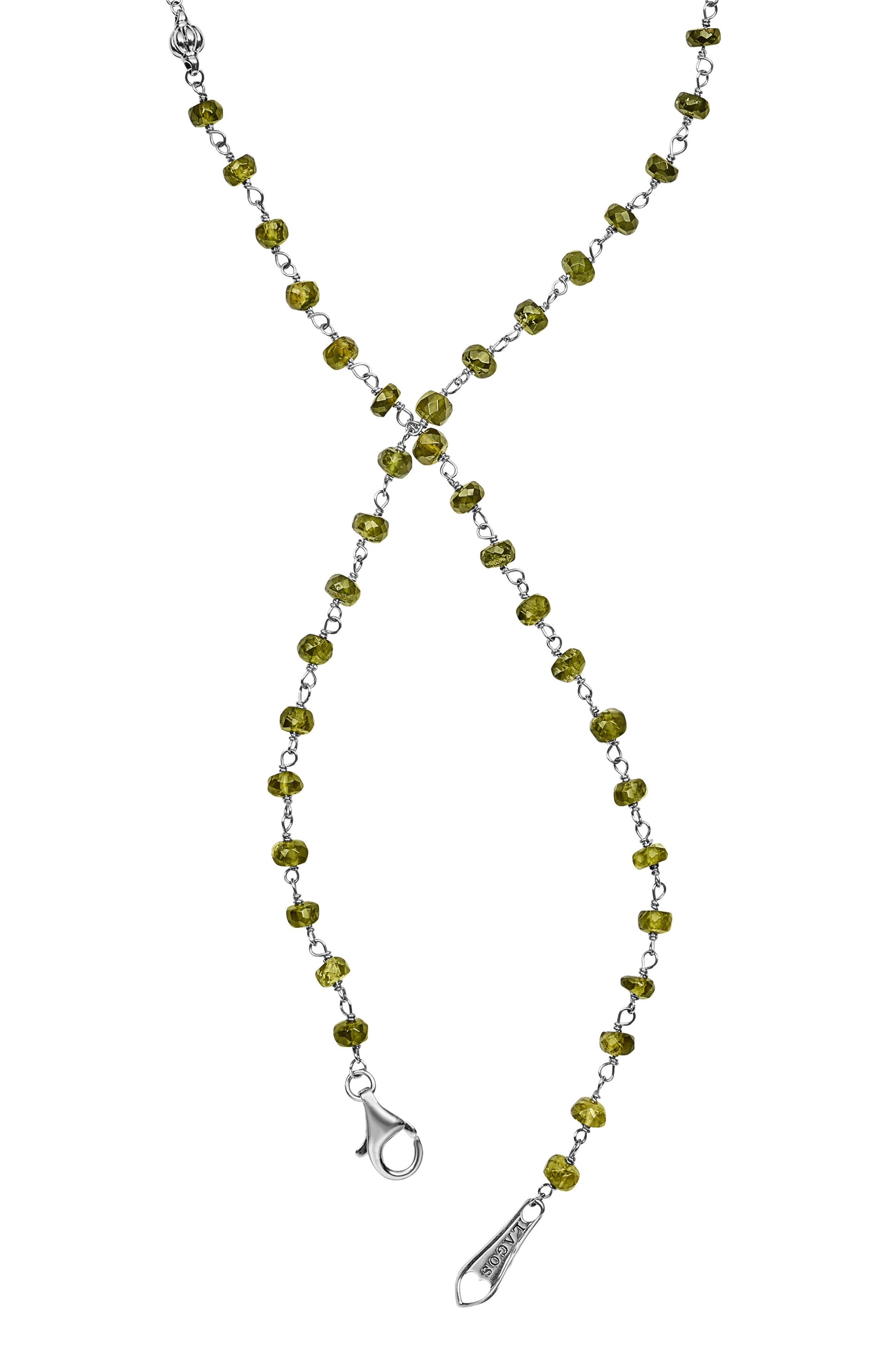 Caviar Forever Gemstone Tassel Pendant Necklace,                             Alternate thumbnail 3, color,                             Silver/ Olive Quartz