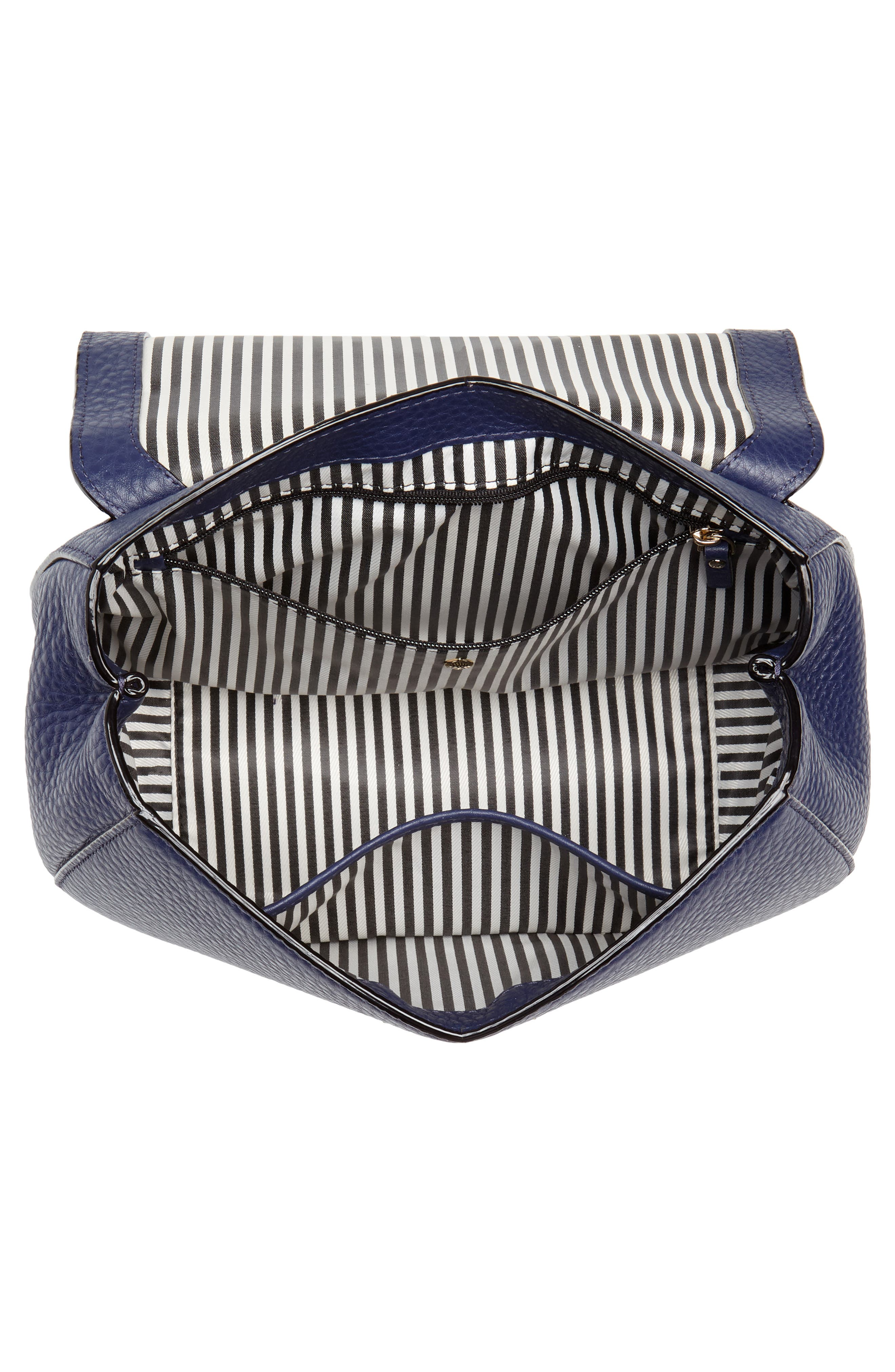 carlyle street - justina leather satchel,                             Alternate thumbnail 4, color,                             Blue Ridge