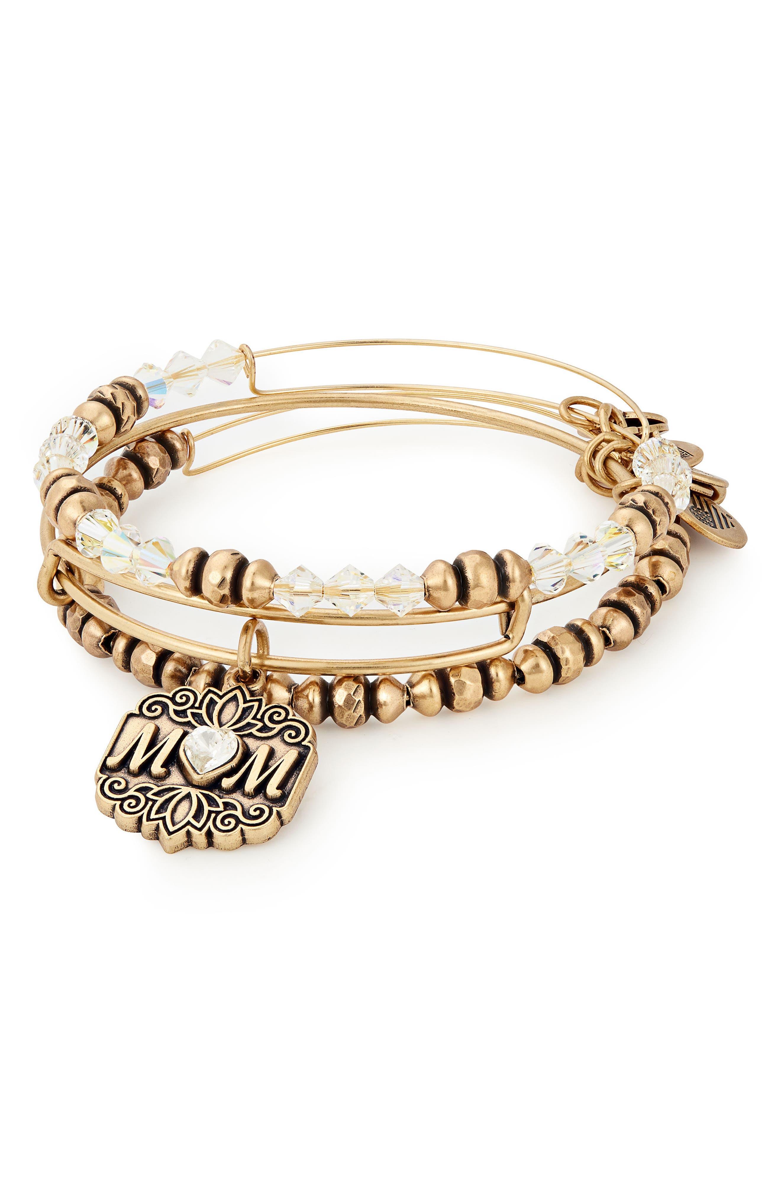 Set of 3 Mom Bracelets,                         Main,                         color, Gold