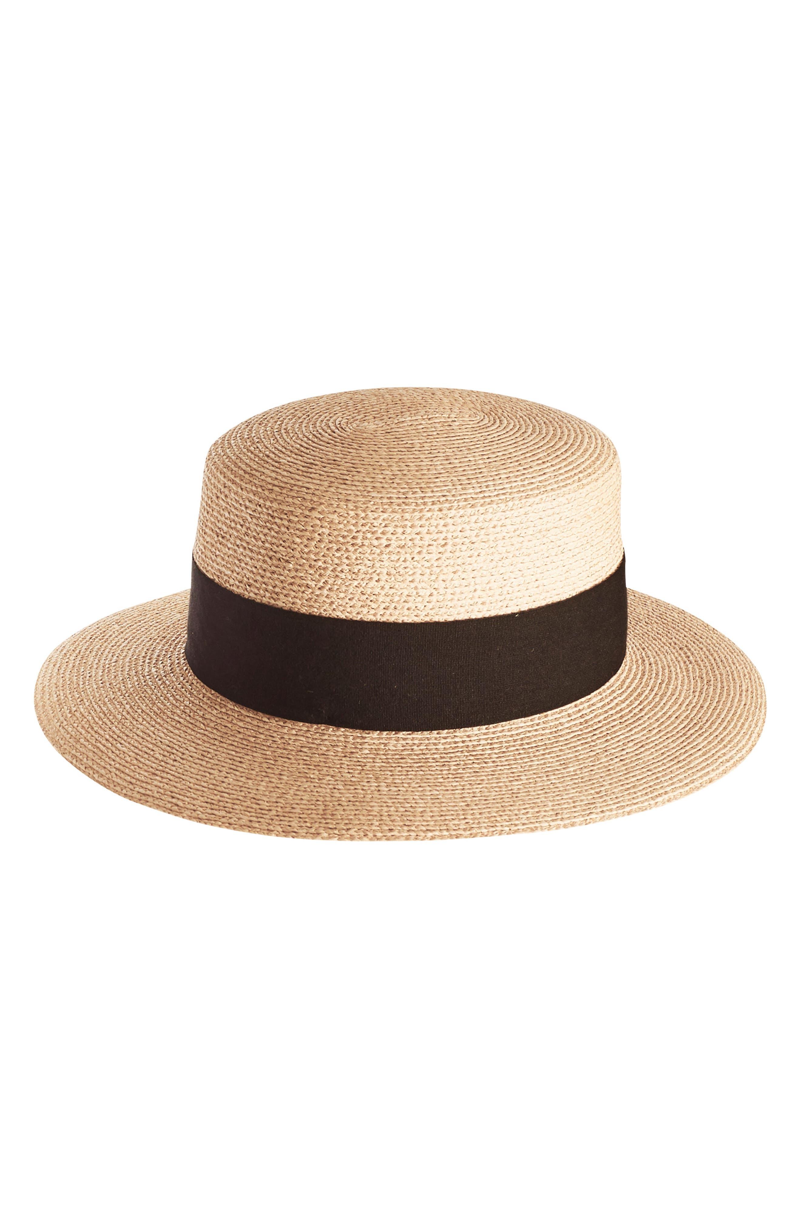 Braided Raffia Boater Hat,                             Main thumbnail 1, color,                             Natural/ Black