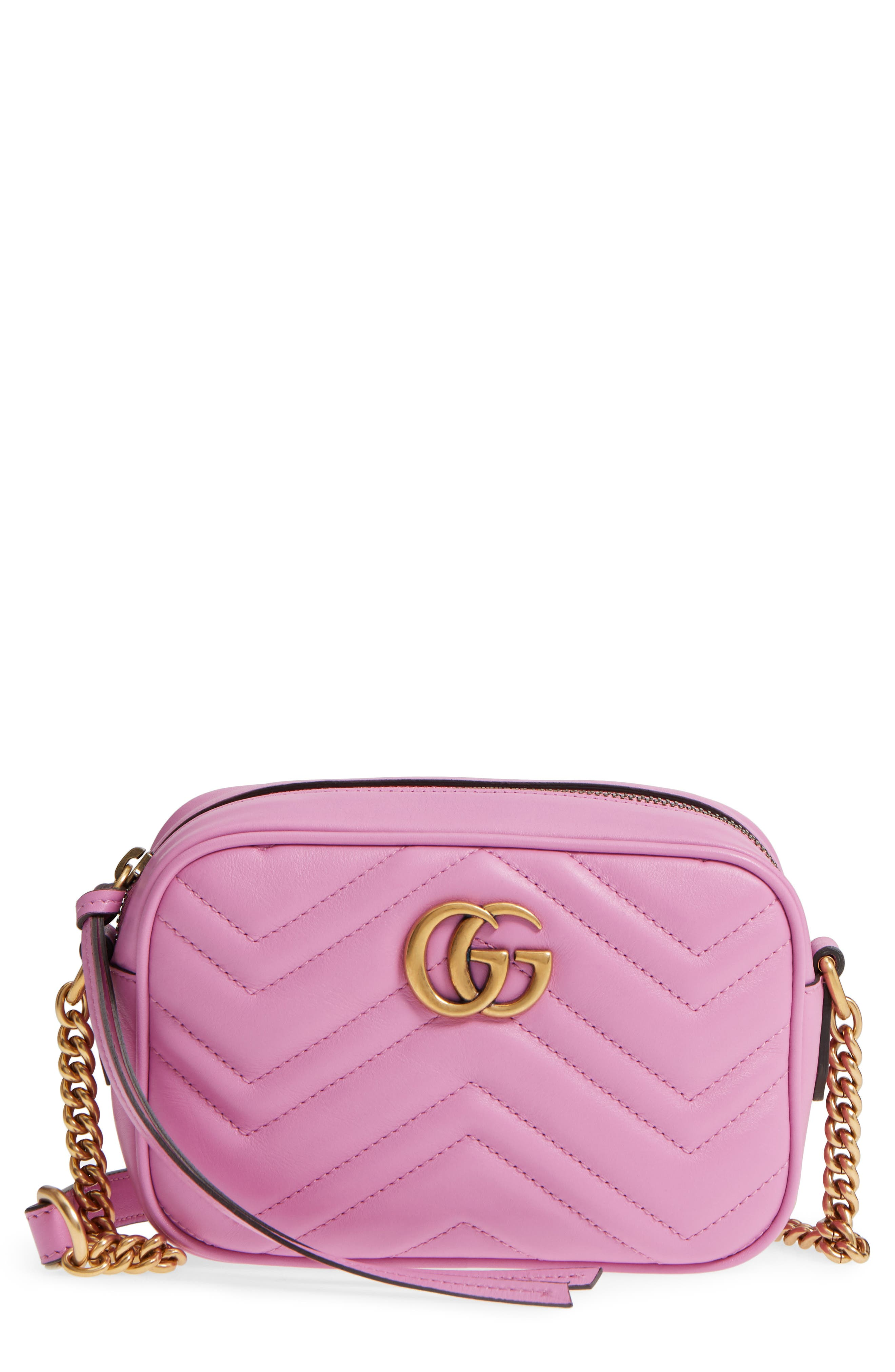 GG Marmont 2.0 Matelassé Leather Camera Bag,                         Main,                         color, Candy Mous