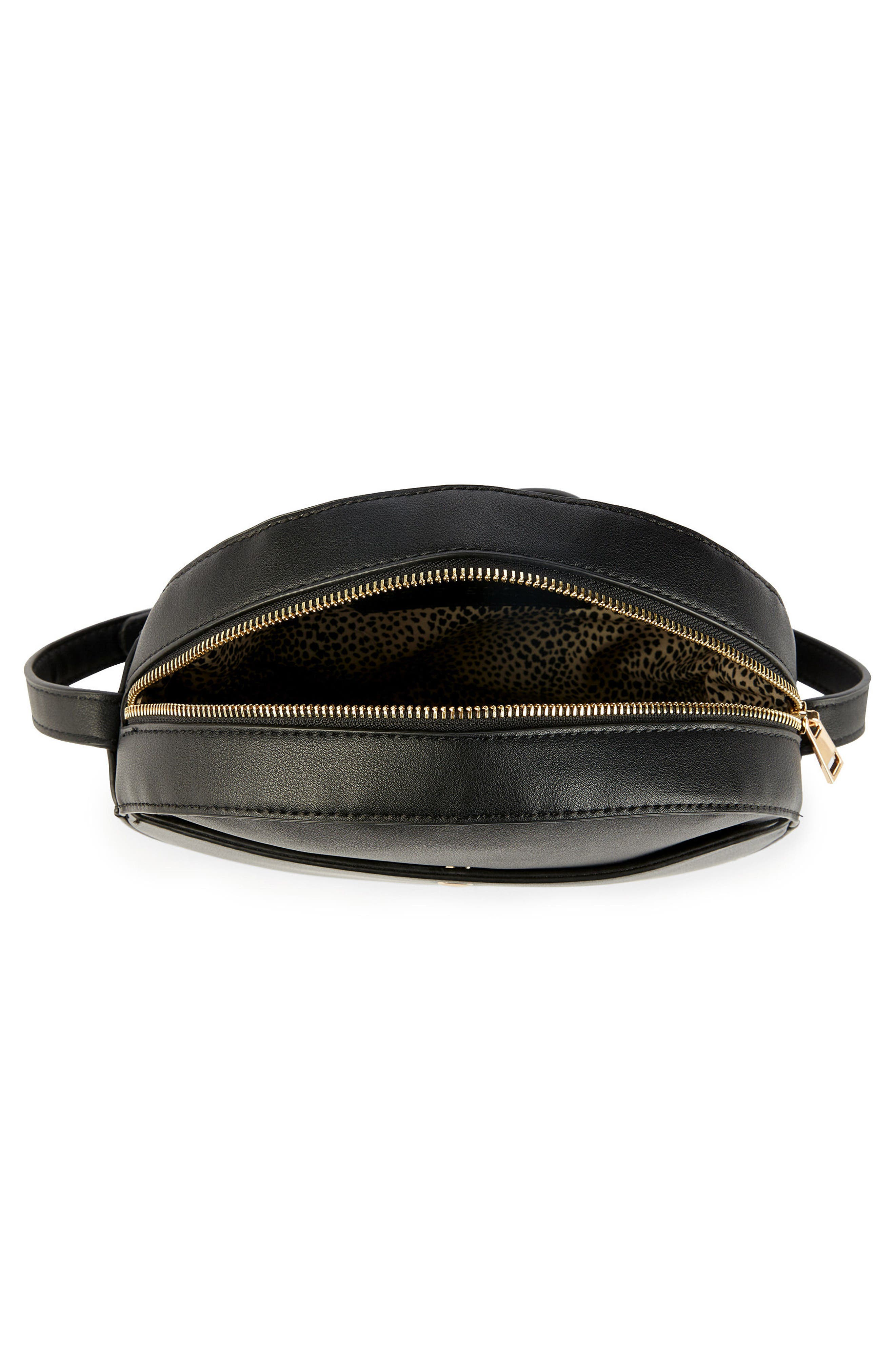 Canteen Faux Leather Crossbody Bag,                             Alternate thumbnail 3, color,                             Black