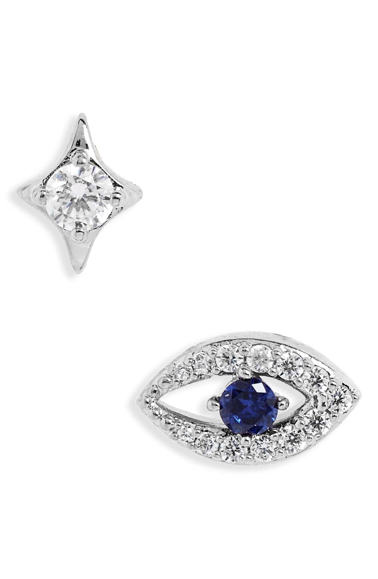 Evil Eye Earrings,                         Main,                         color, Silver