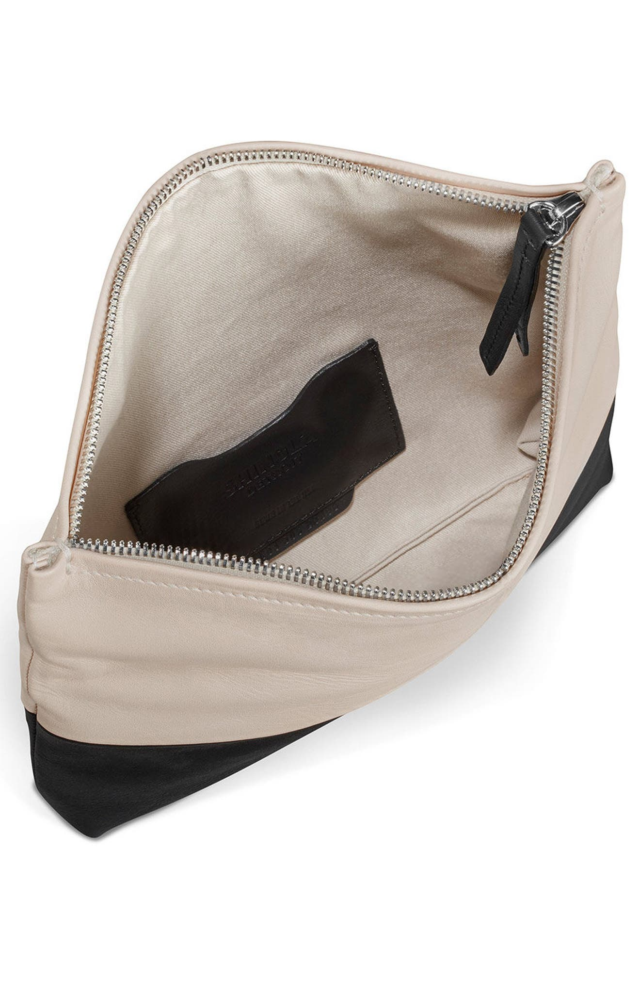 Birdy Leather Foldover Clutch,                             Alternate thumbnail 3, color,                             Soft Blush Black