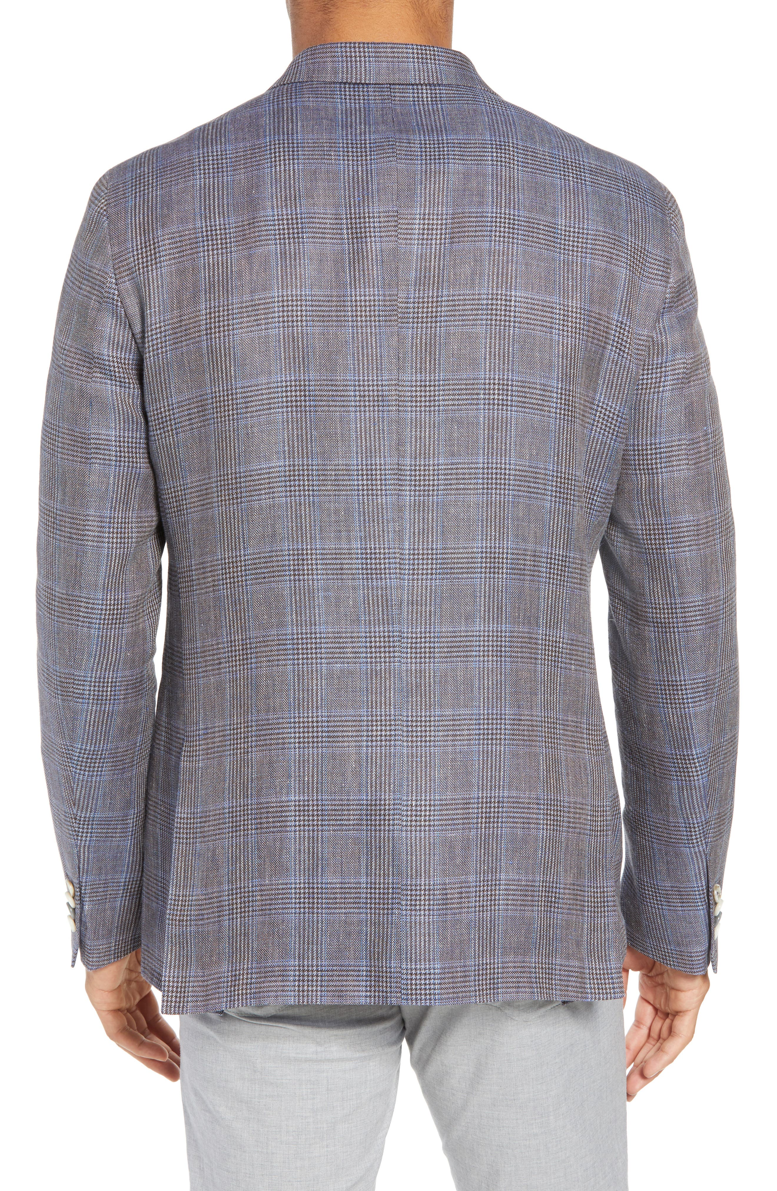 Glenn Trim Fit Plaid Linen Blend Sport Coat,                             Alternate thumbnail 2, color,                             Cognac