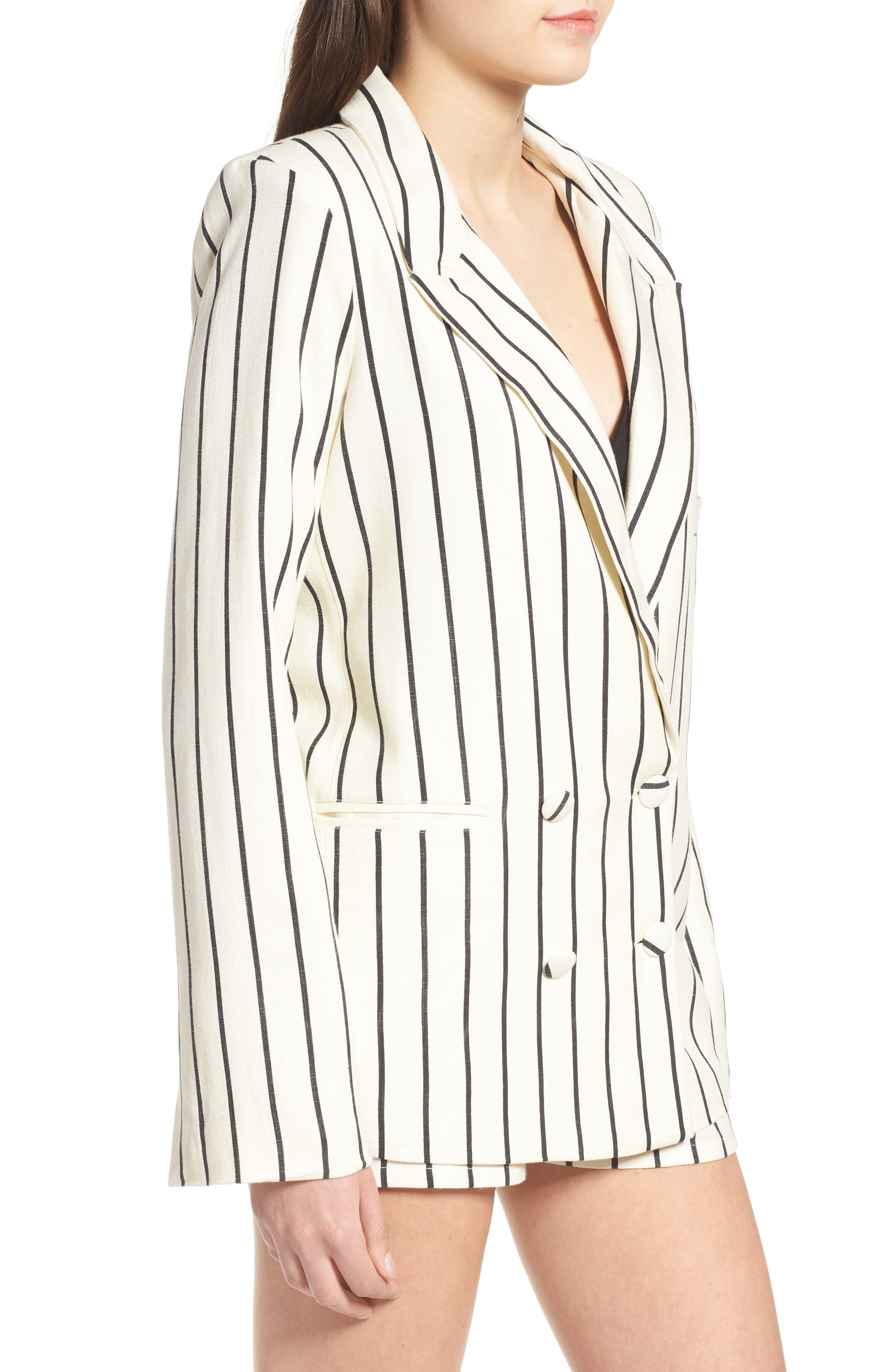Fanning Stripe Blazer,                             Alternate thumbnail 4, color,                             Natural And Black