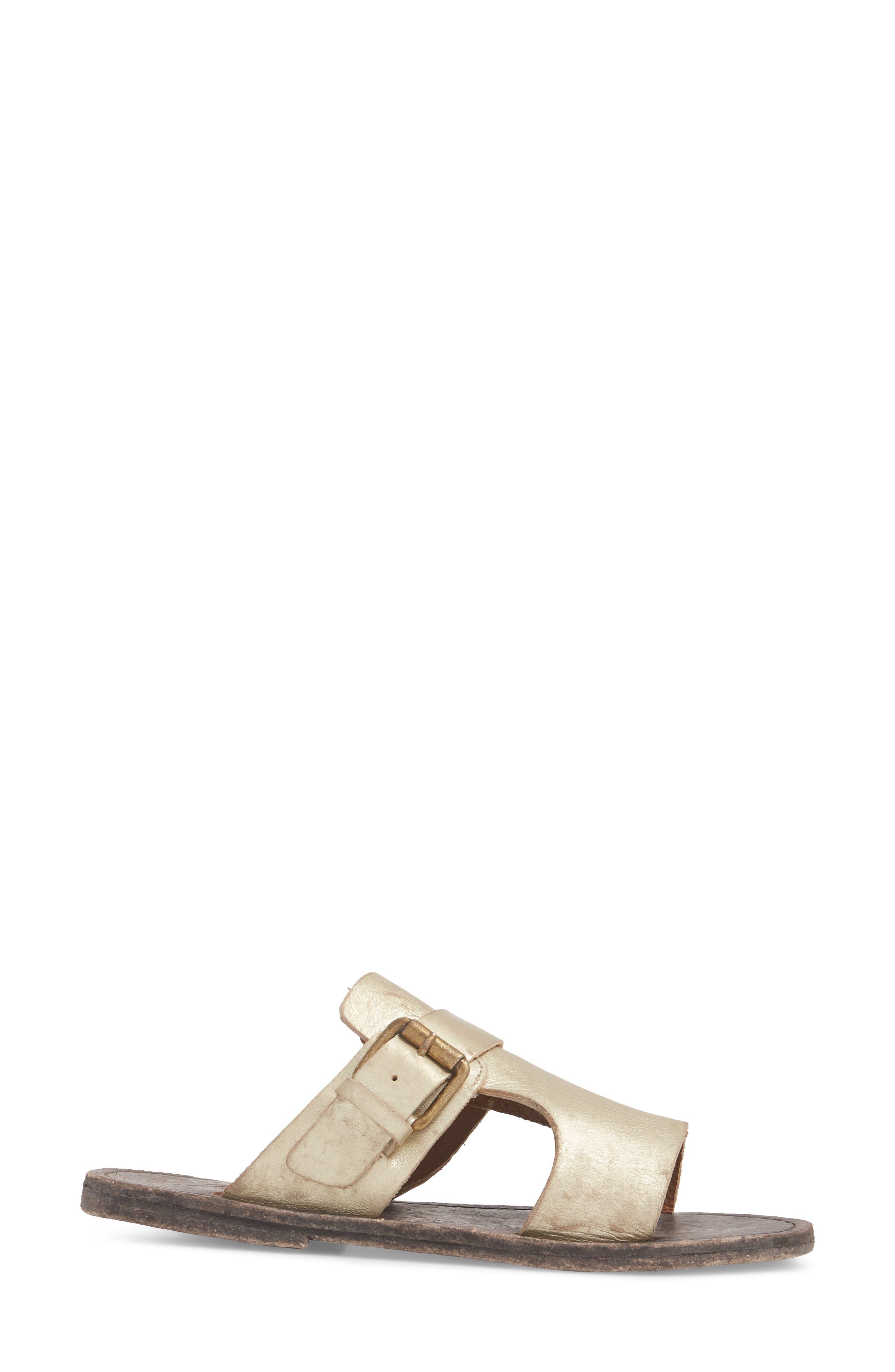 Abbie Slide Sandal,                             Alternate thumbnail 3, color,                             Gold Leather
