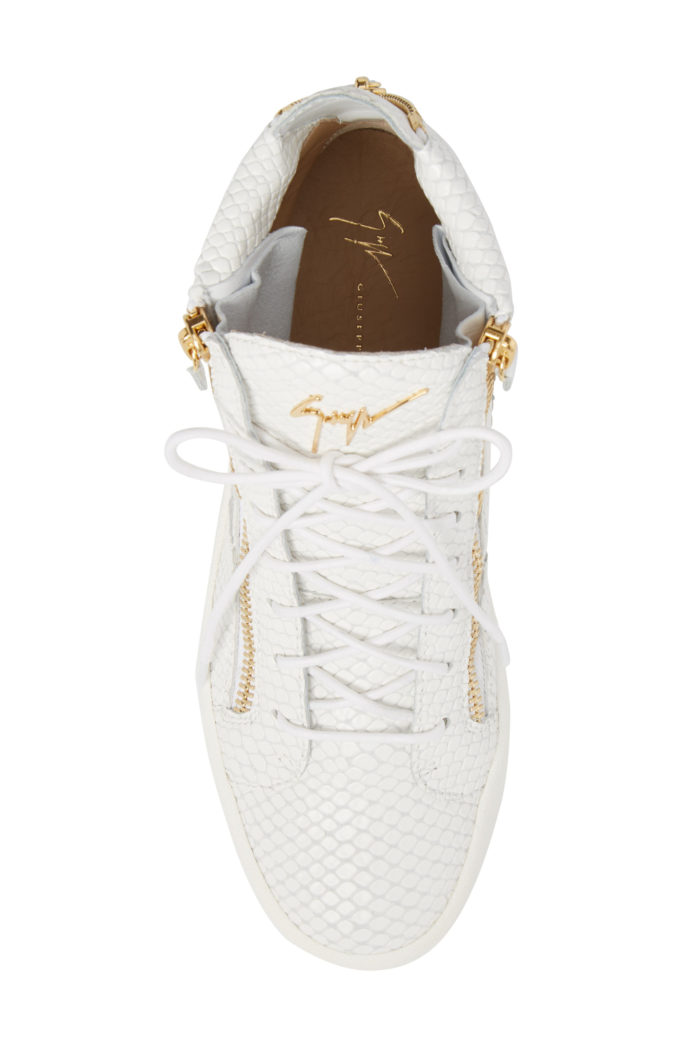 Snake Embossed High Top Sneaker,                             Alternate thumbnail 5, color,                             Bianco