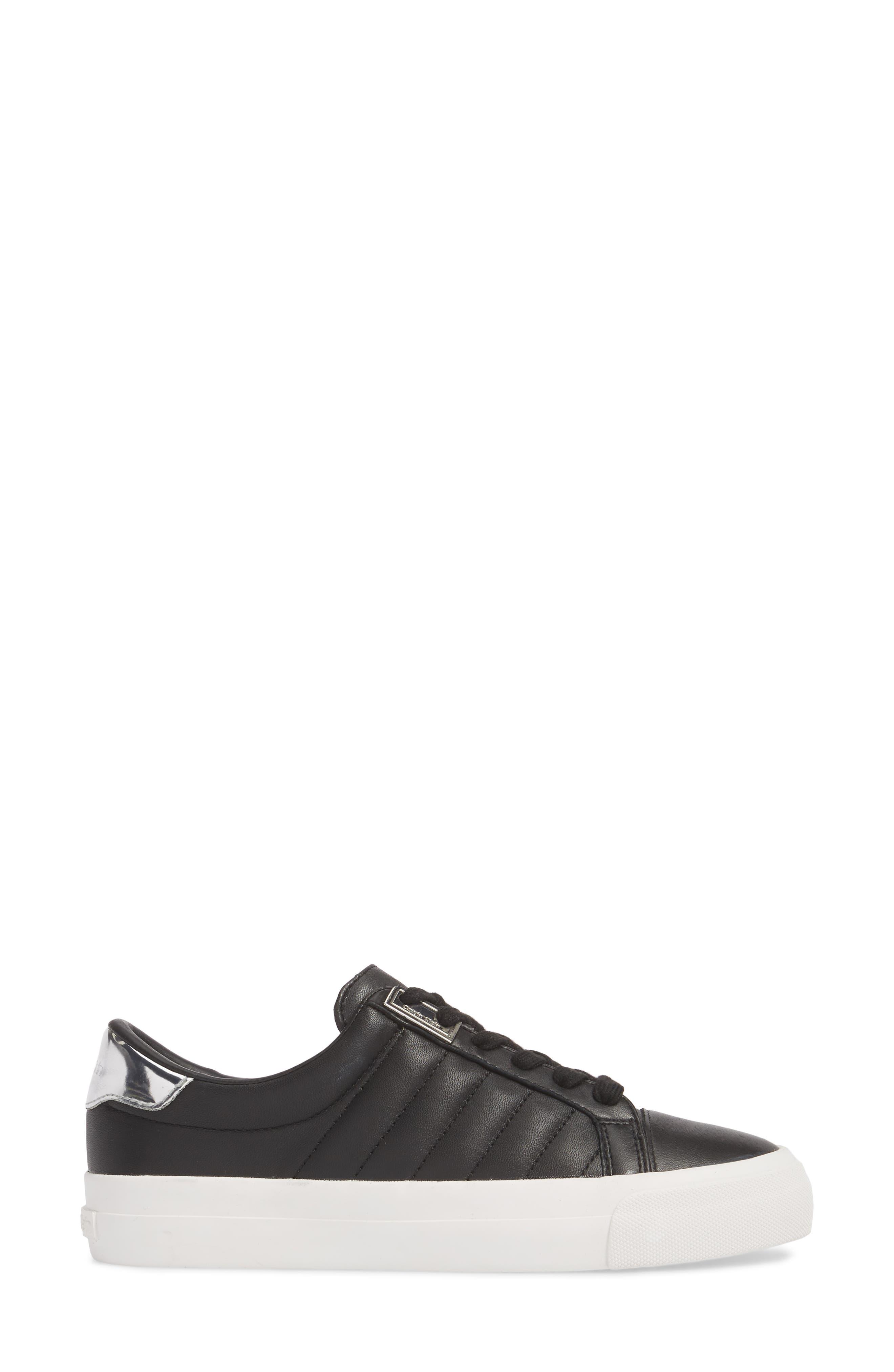 Vance Sneaker,                             Alternate thumbnail 3, color,                             Black Leather