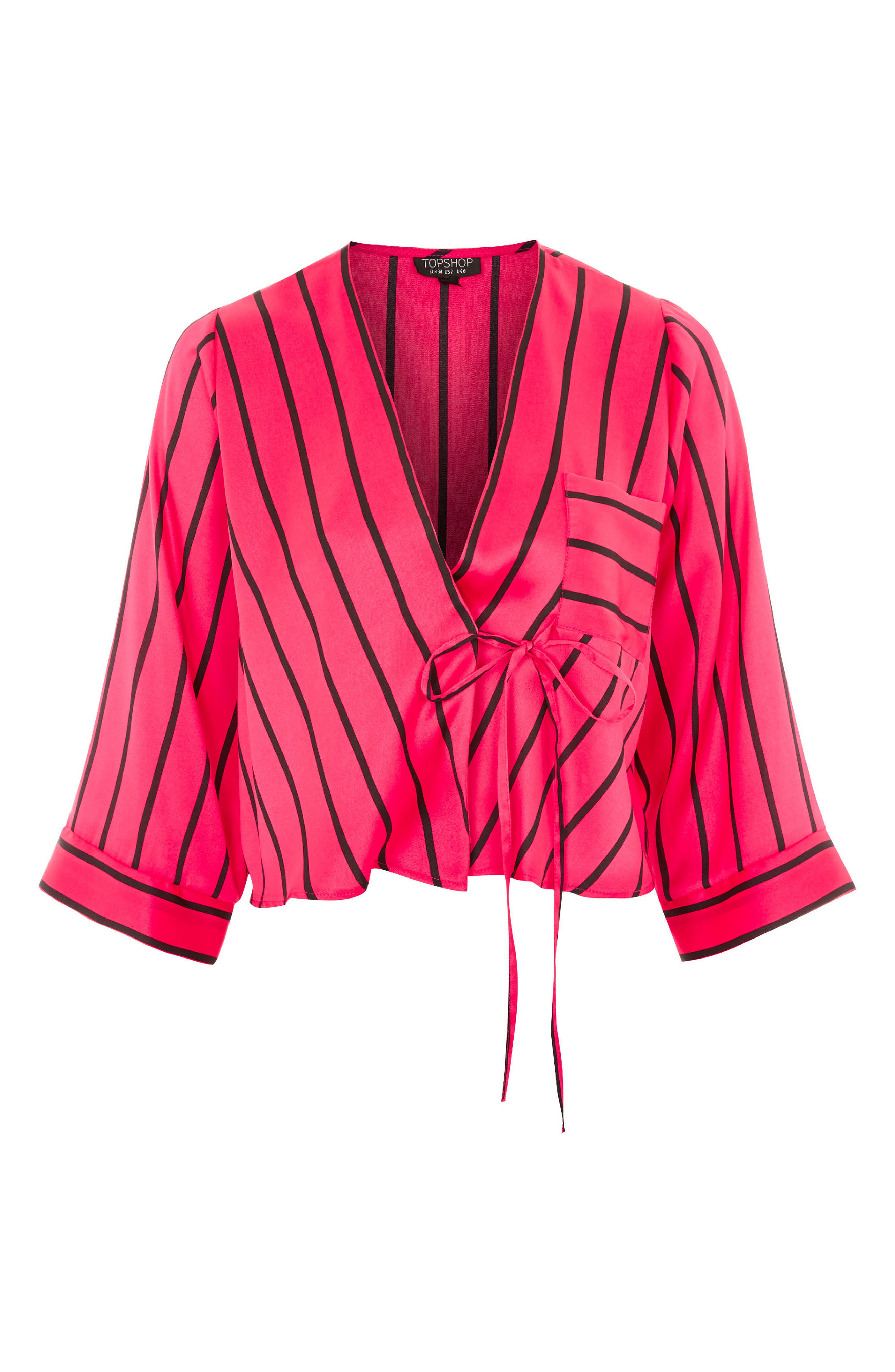 Stripe Tie Wrap Kimono Top,                             Alternate thumbnail 4, color,                             Pink Multi