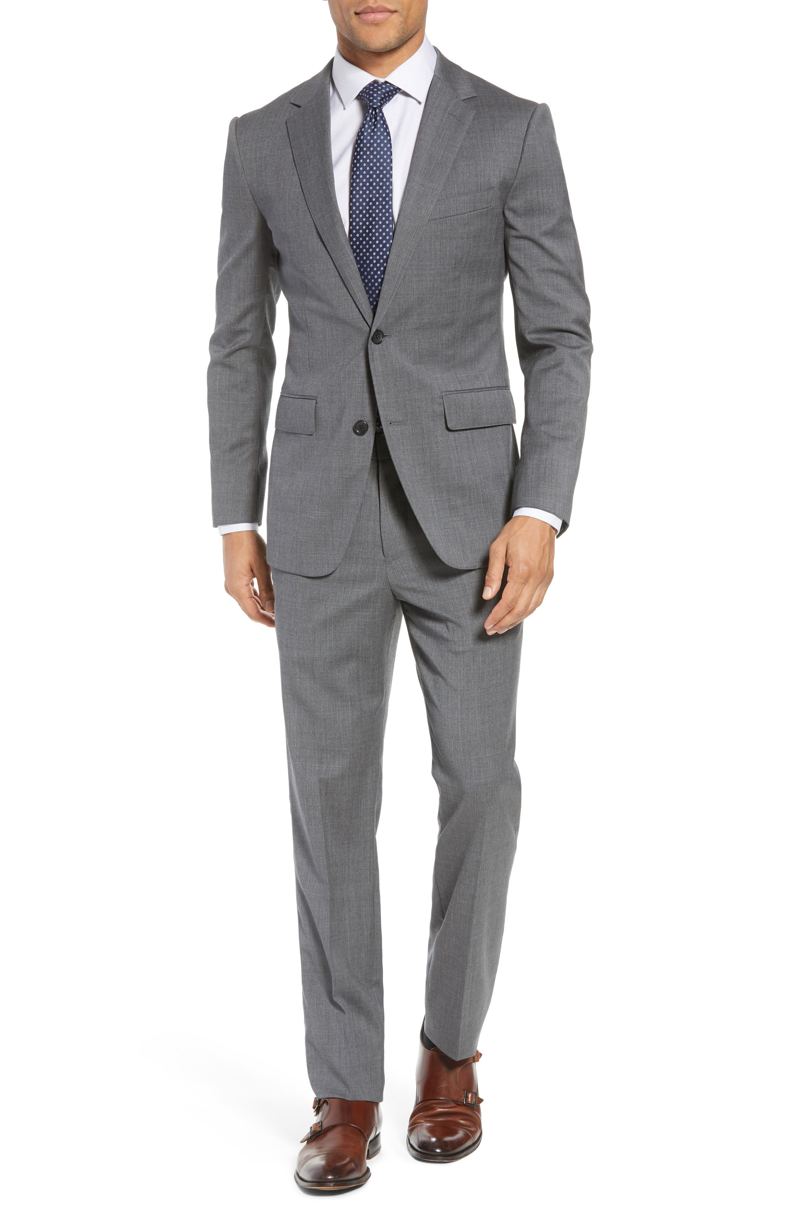 Trim Fit Solid Stretch Wool Sport Coat,                             Alternate thumbnail 7, color,                             Grey