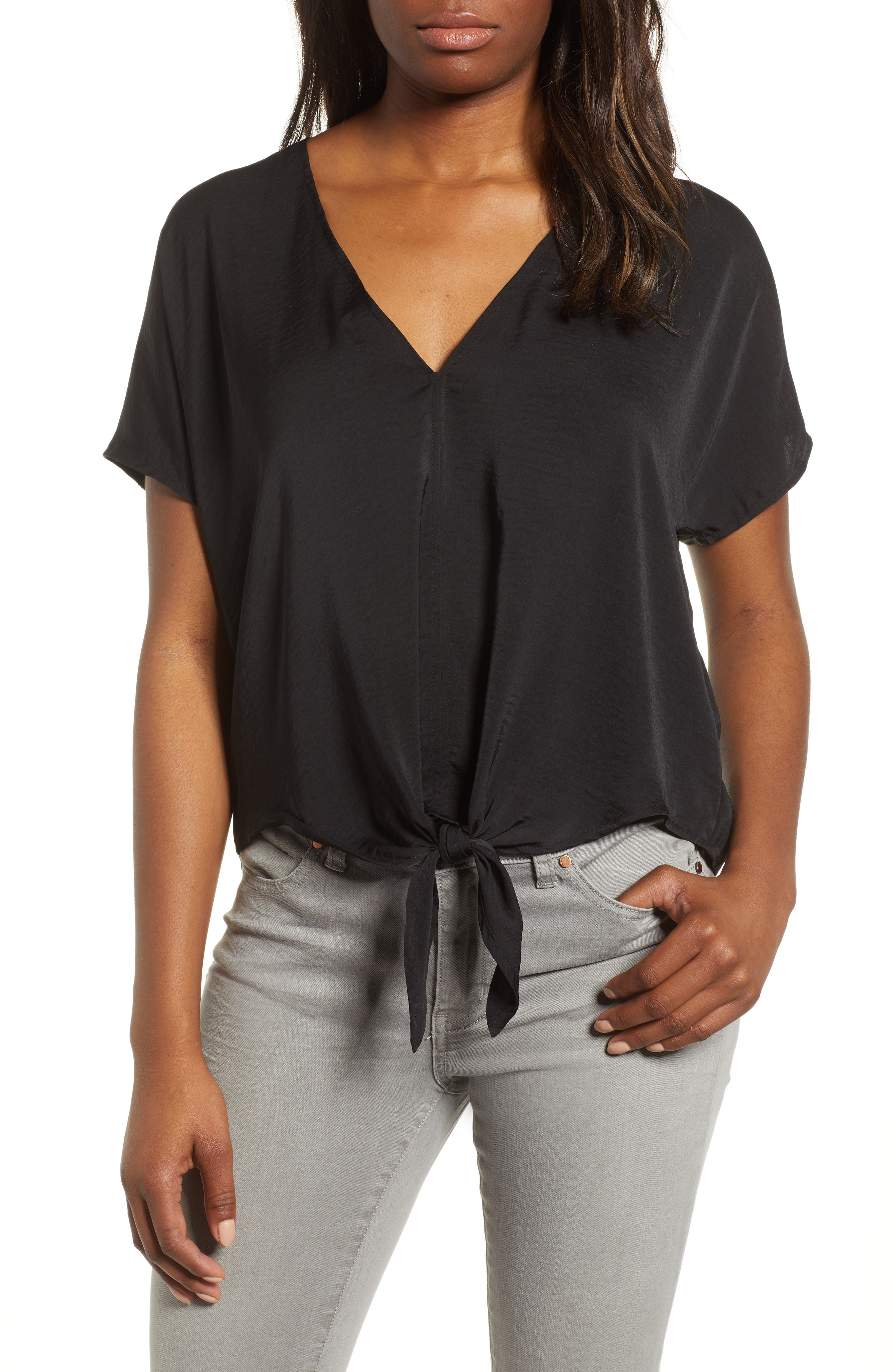 Tie Front Top,                             Main thumbnail 1, color,                             Lucky Black