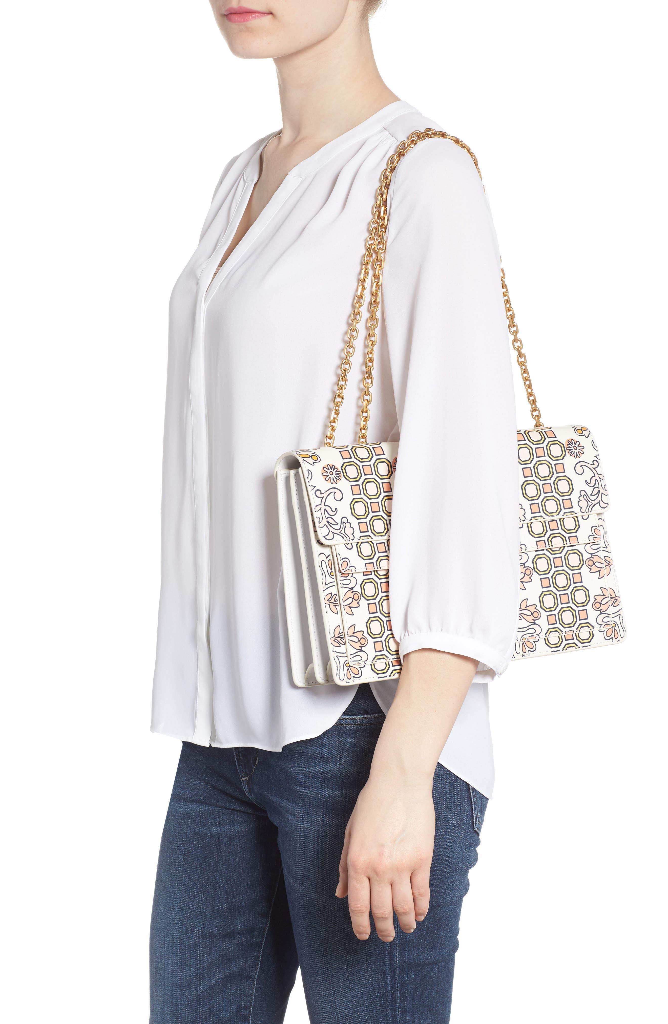 Large Gemini Link Print Leather Shoulder Bag,                             Alternate thumbnail 2, color,                             Hicks Garden