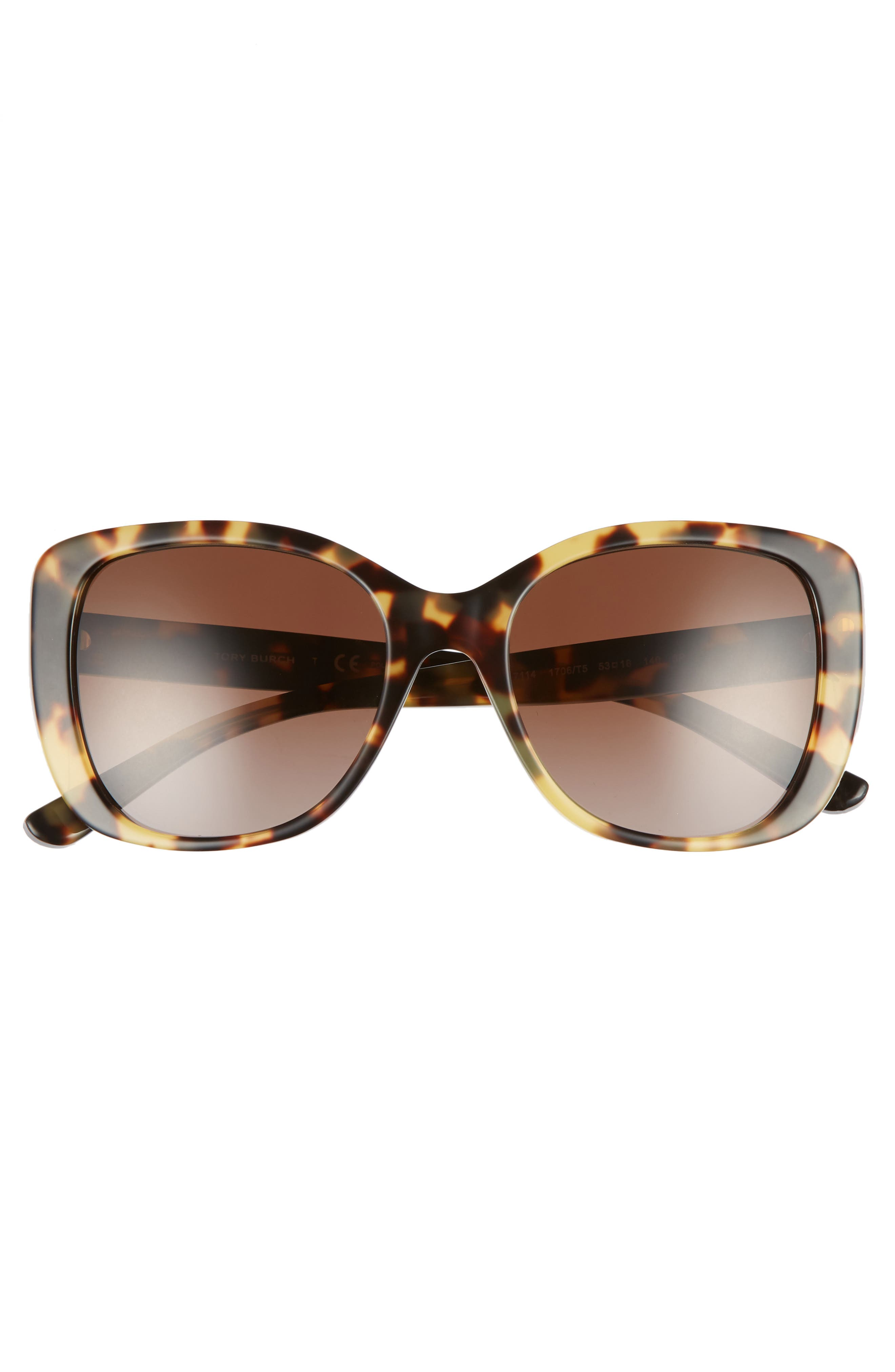 53mm Polarized Rectangle Sunglasses,                             Alternate thumbnail 3, color,                             Tokyo Tortoise Gradient