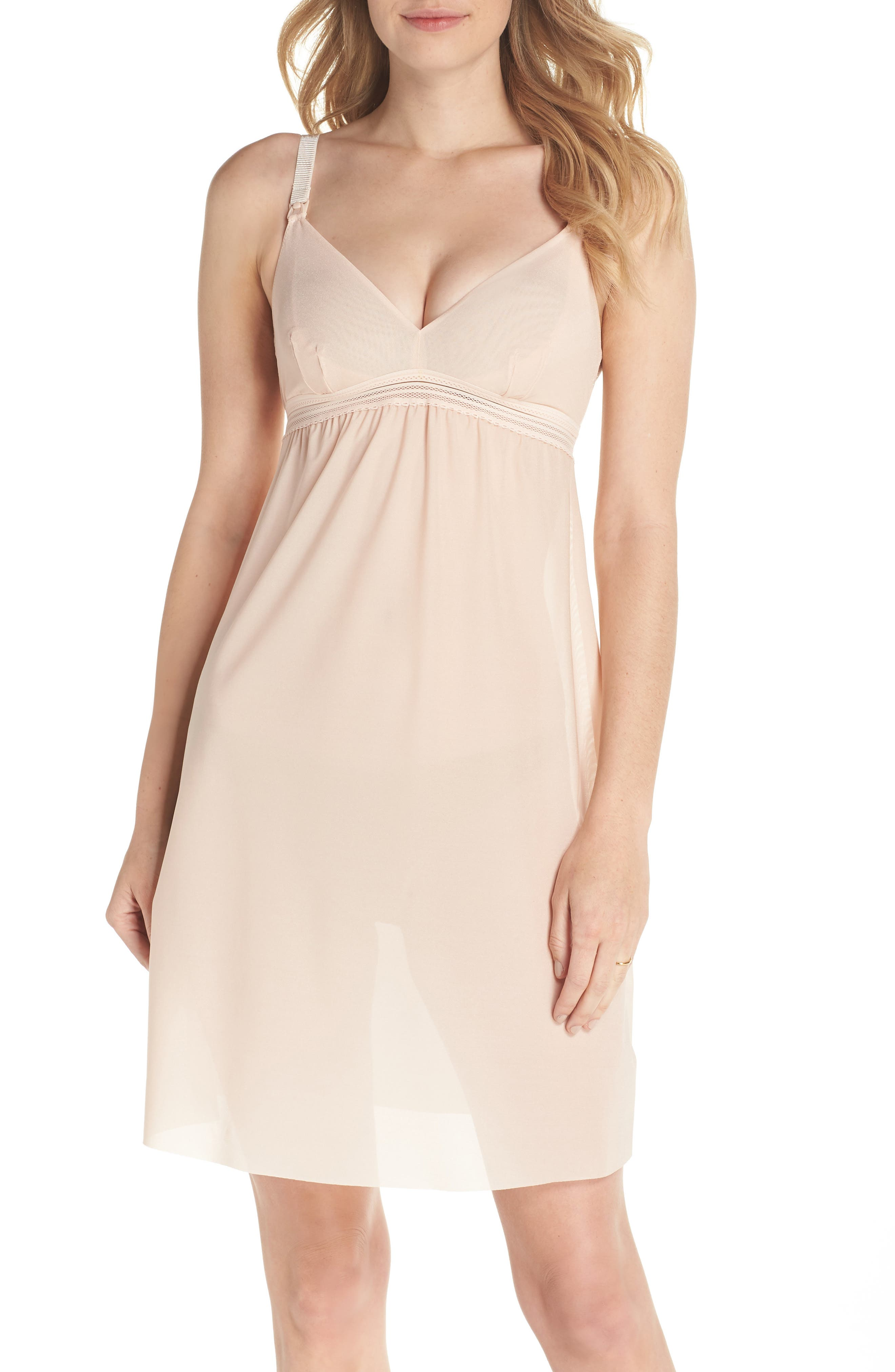 Laced In Aire Chemise,                             Main thumbnail 1, color,                             Nude Rose