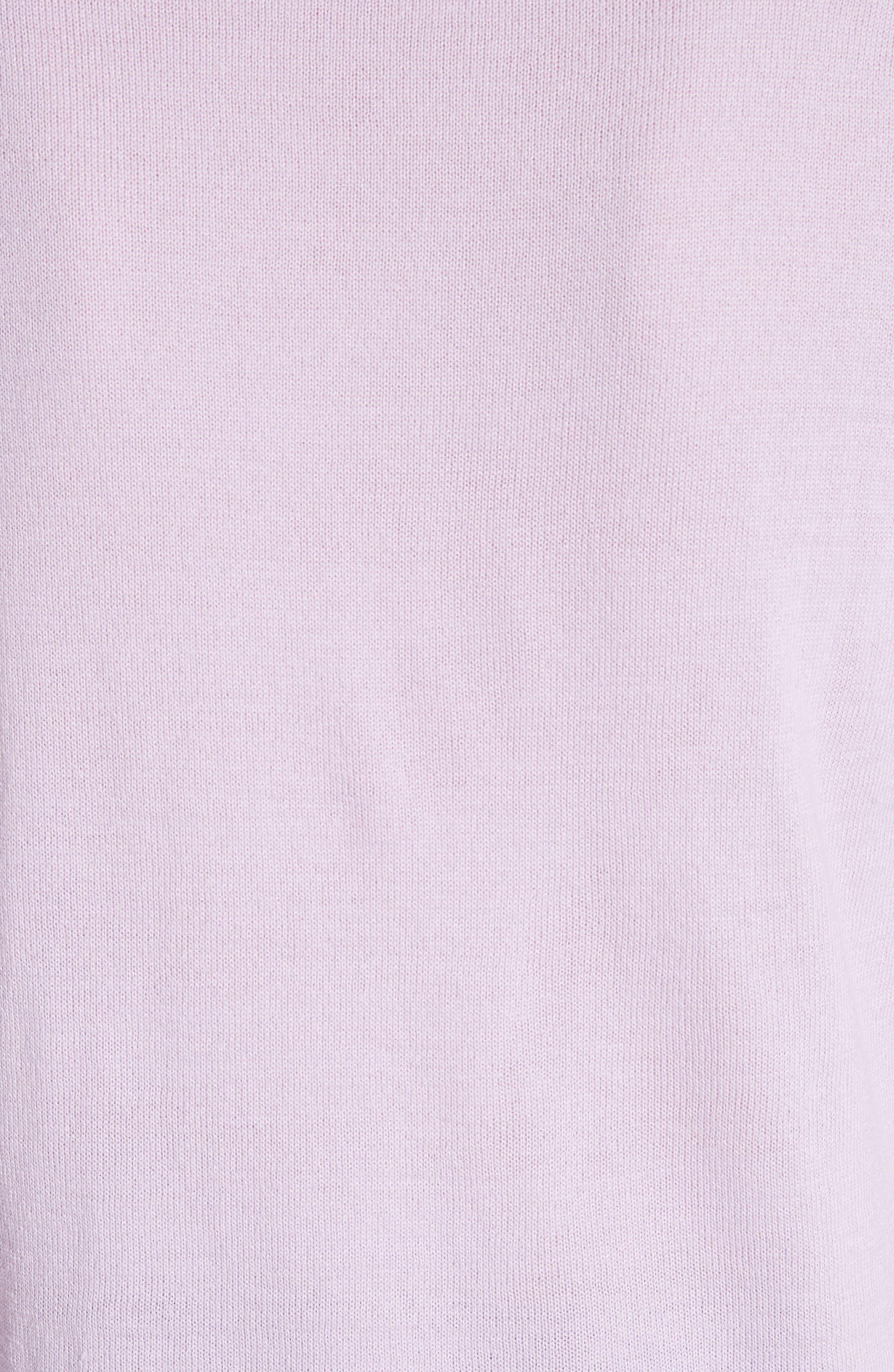 Sheer Panel Crewneck Sweater,                             Alternate thumbnail 6, color,                             Purple
