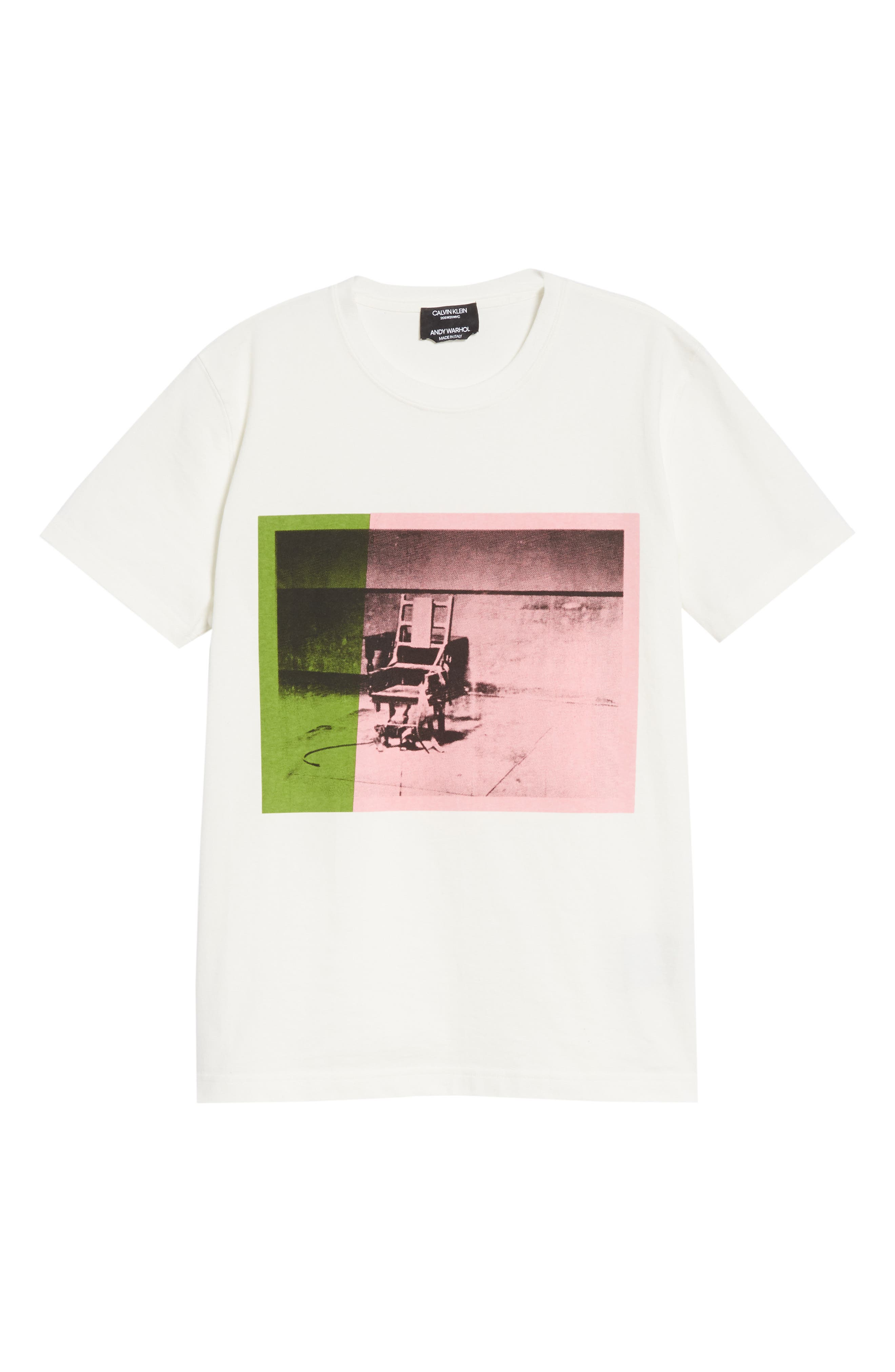 x Andy Warhol Foundation Electric Chair Graphic Tee,                             Alternate thumbnail 6, color,                             White/ Pink/ Green