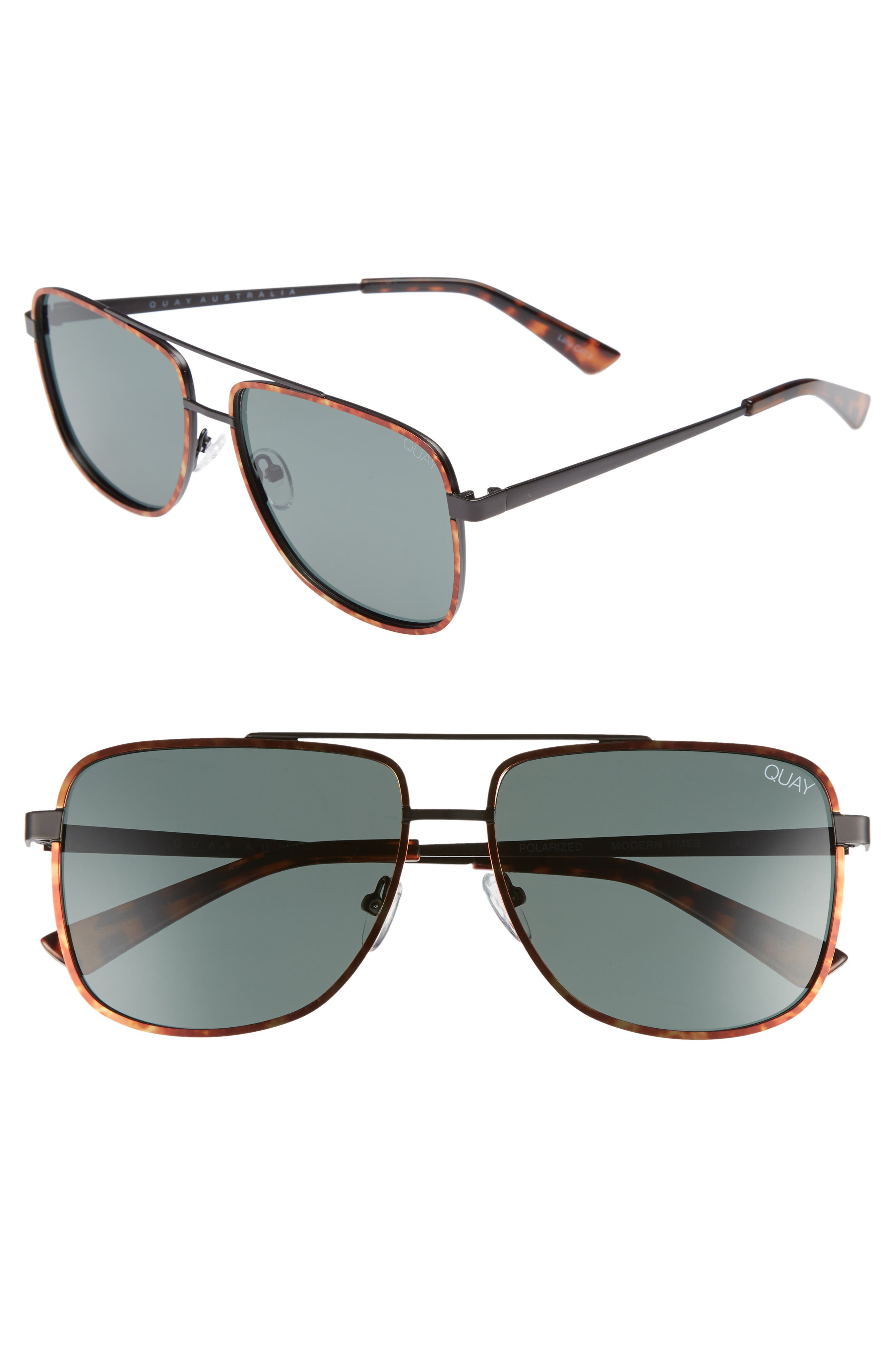 Modern Times 57mm Polarized Aviator Sunglasses,                             Main thumbnail 1, color,                             Tort / Green Lens