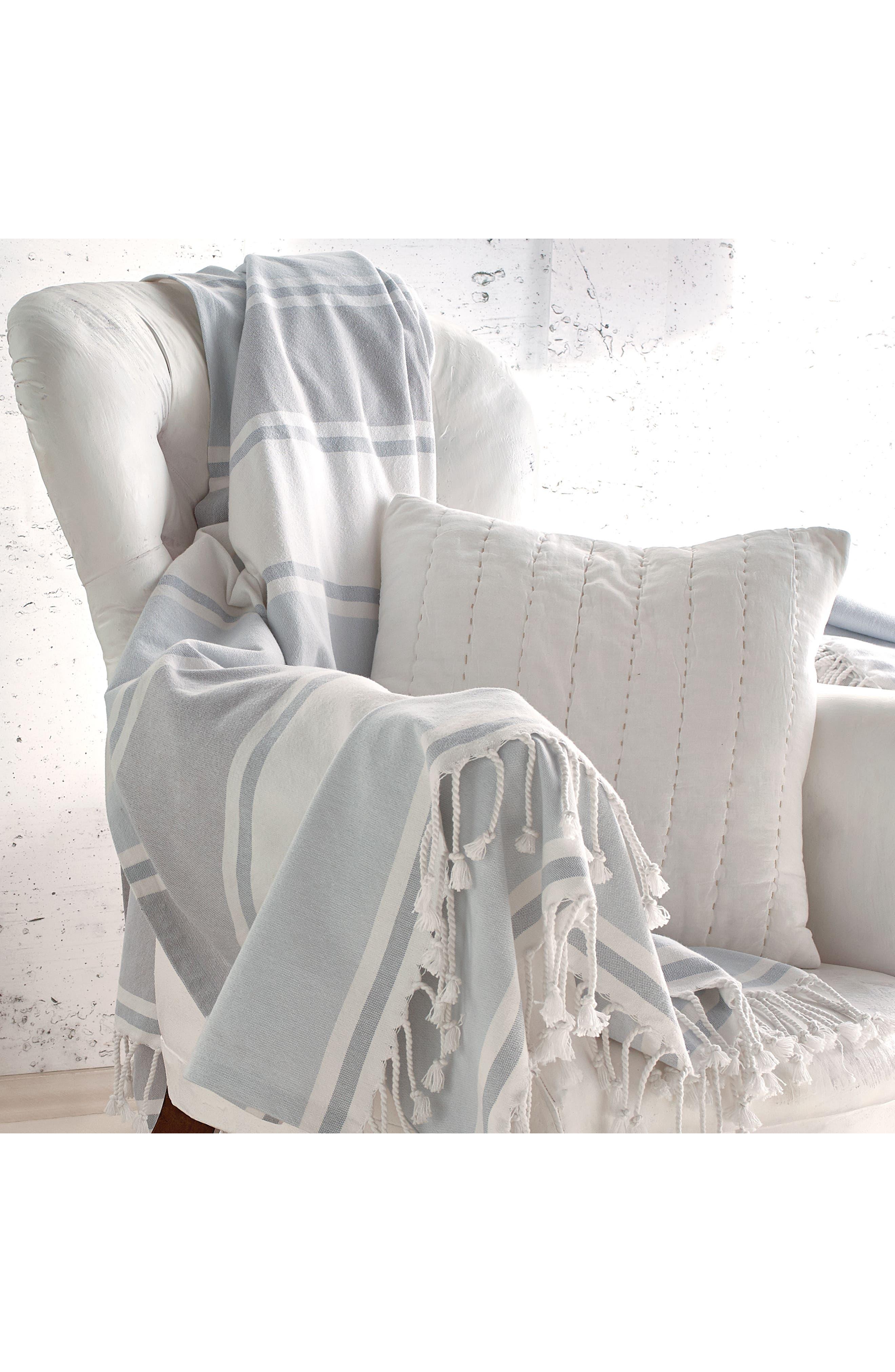 Donna Karan New York Pure Stripe Blanket,                             Alternate thumbnail 2, color,                             Blue
