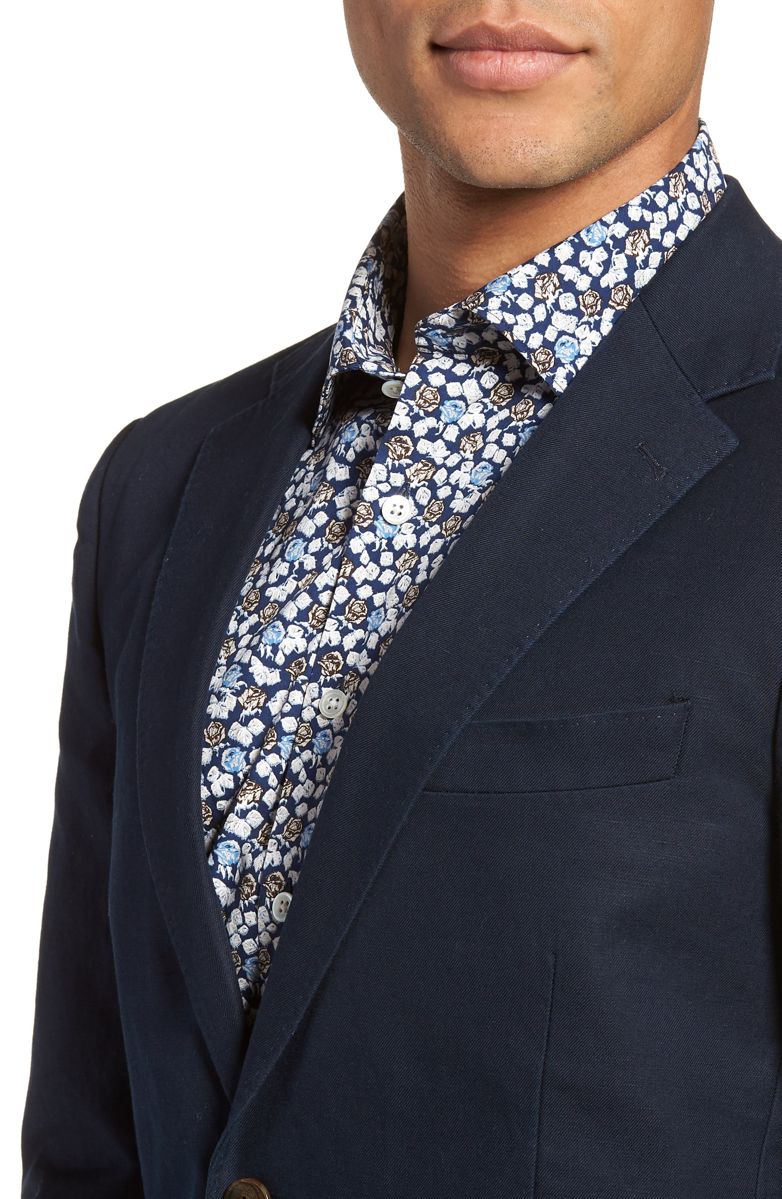 Maxwell Valley Cotton & Linen Sport Coat,                             Alternate thumbnail 4, color,                             Midnight