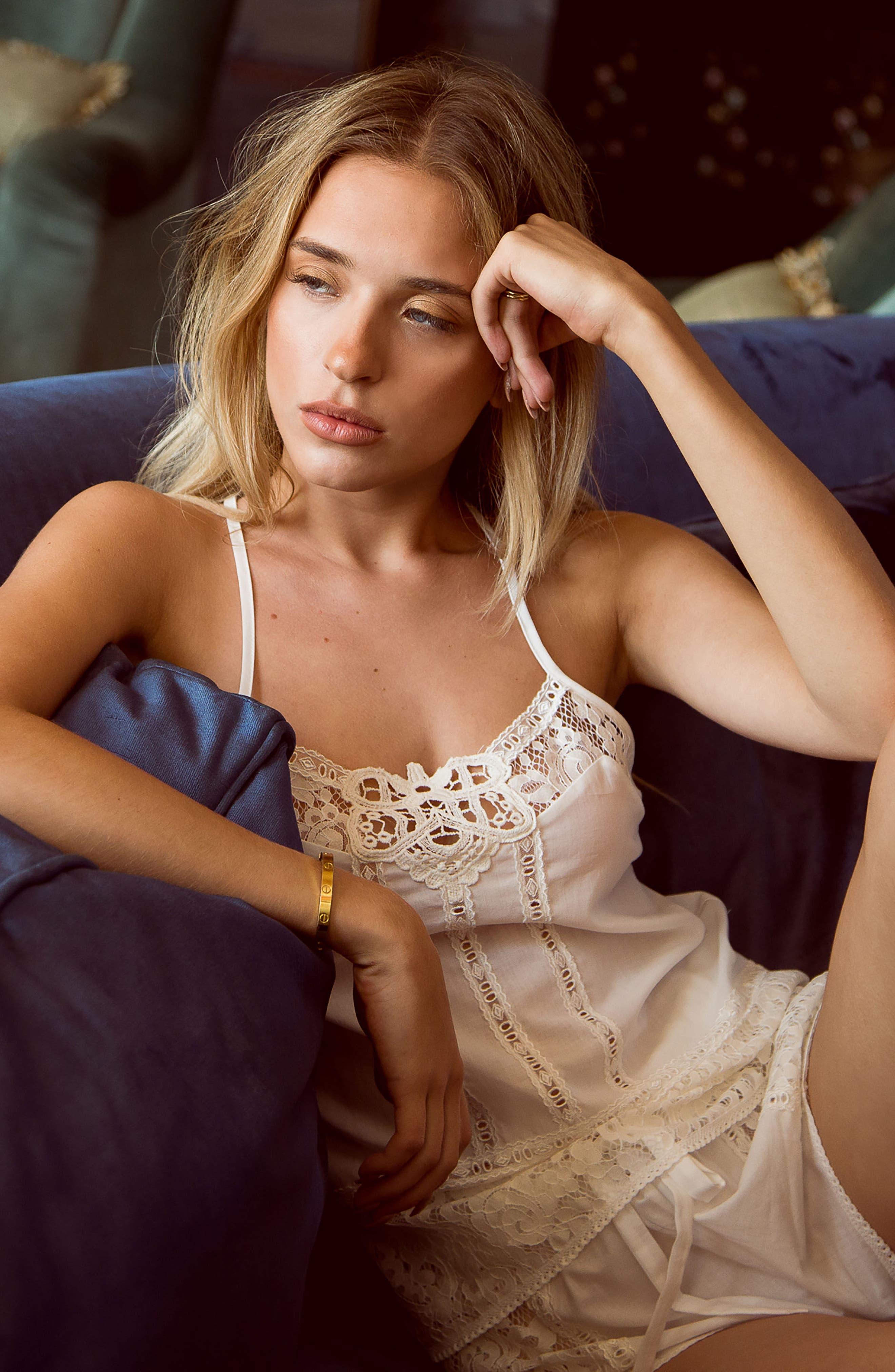 Eyelet Cotton Short Pajamas,                             Alternate thumbnail 7, color,                             Ivory/ Beige