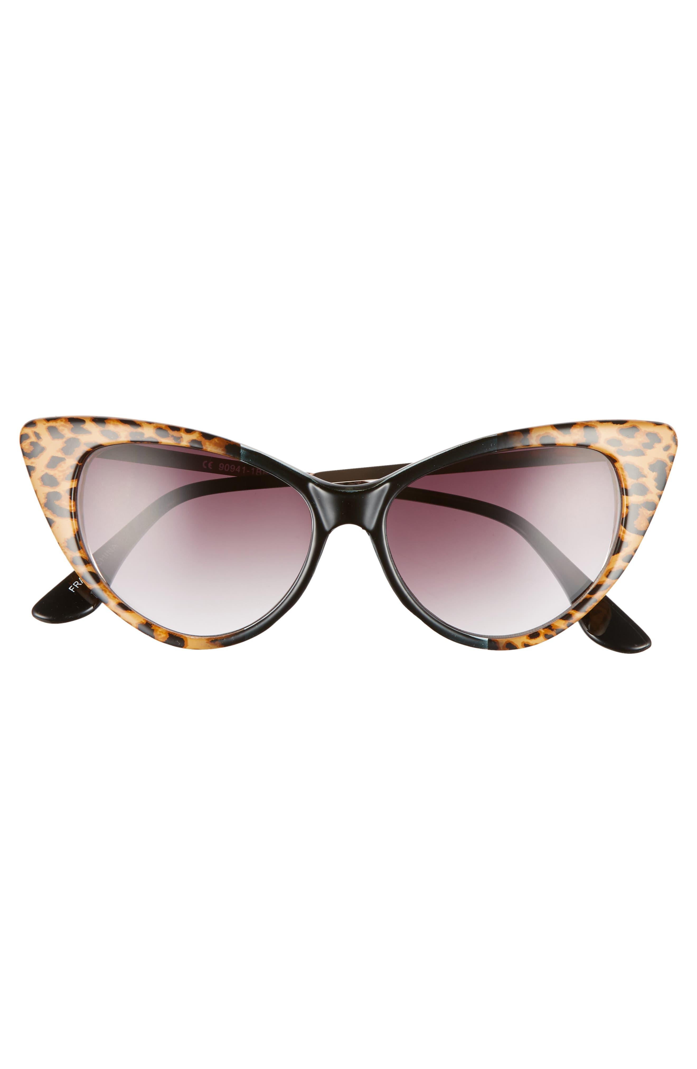 62mm Leopard Print Cat Eye Sunglasses,                             Alternate thumbnail 3, color,                             Leopard/ Black