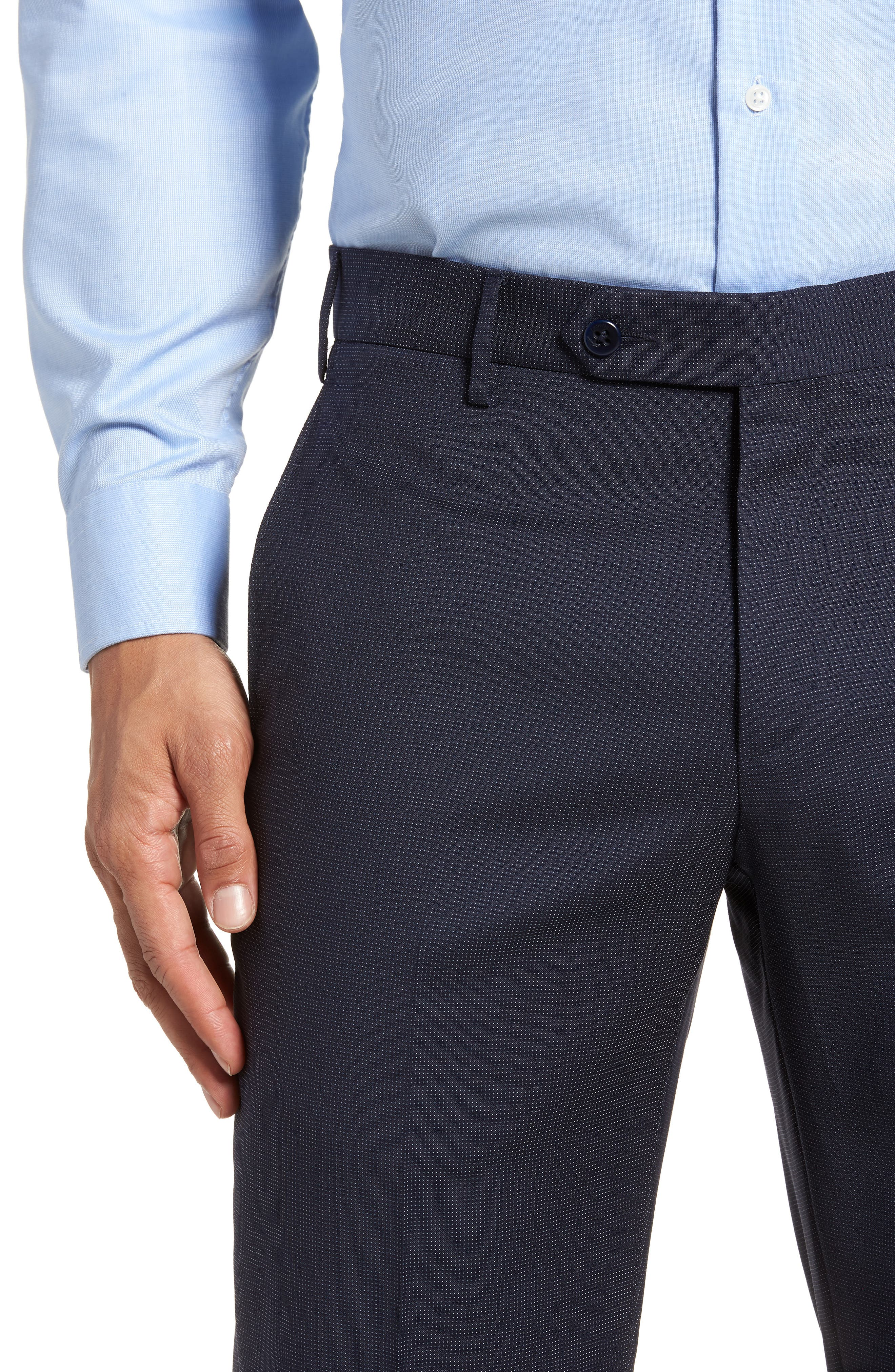 Parker Flat Front Pindot Wool Trousers,                             Alternate thumbnail 4, color,                             Navy