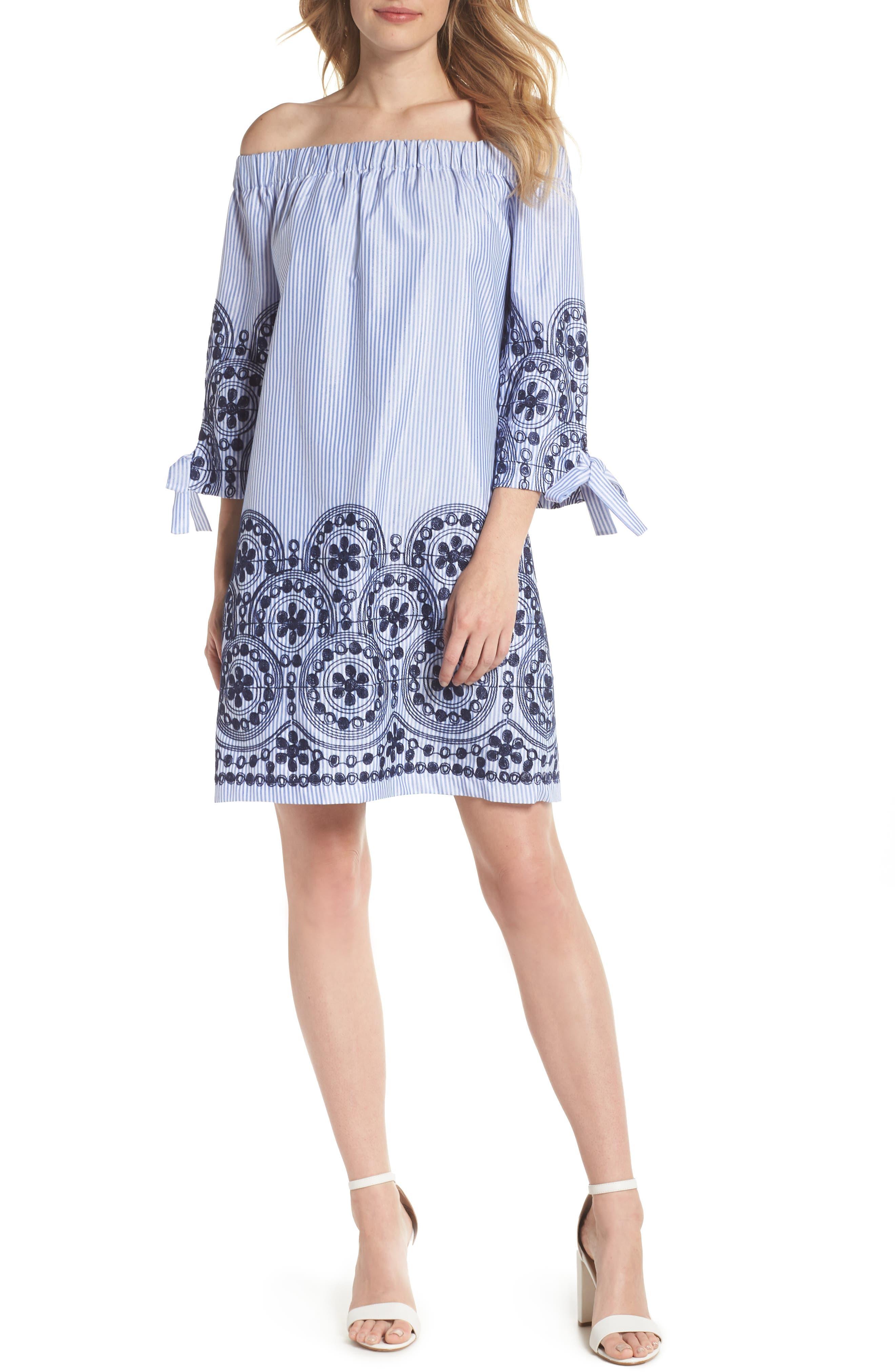 Off the Shoulder Stripe Embroidered Shift Dress,                         Main,                         color, Navy Multi