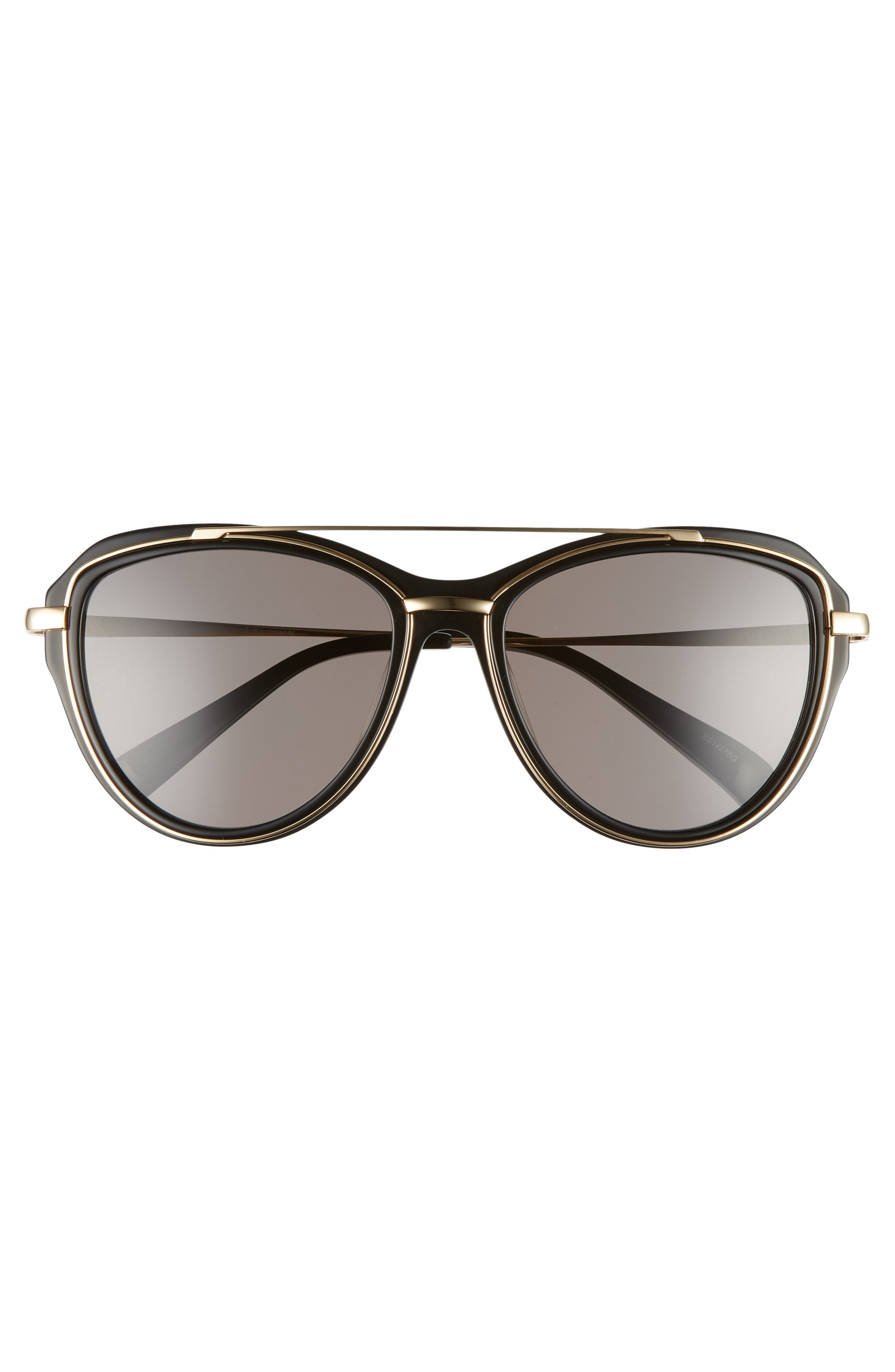 BLANC & ECLARE Marrakesh 57mm Aviator Sunglasses,                             Alternate thumbnail 3, color,                             Black/ Gold/ Smog Grey