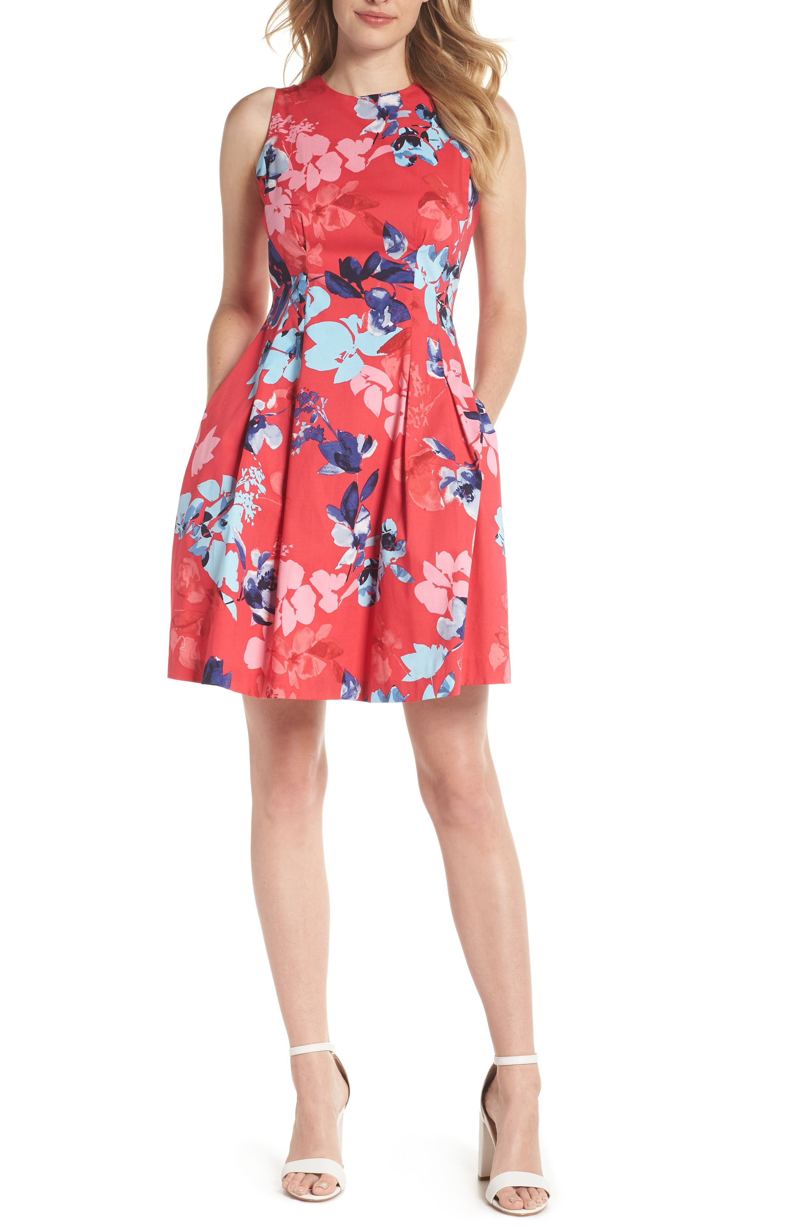 Floral Cotton Fit & Flare Dress,                             Main thumbnail 1, color,                             Pink Multi